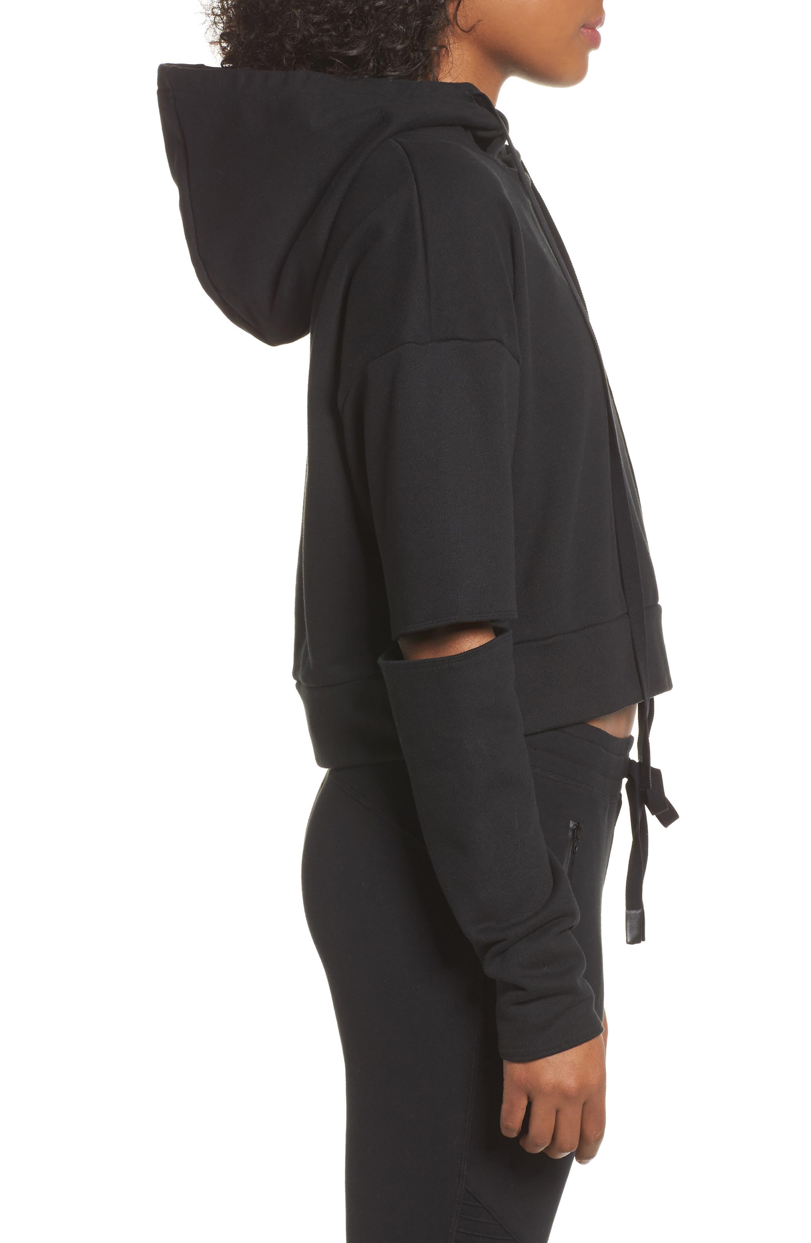 Peak Cutout Long Sleeve Pullover Crop Hoodie,                             Alternate thumbnail 4, color,                             Black