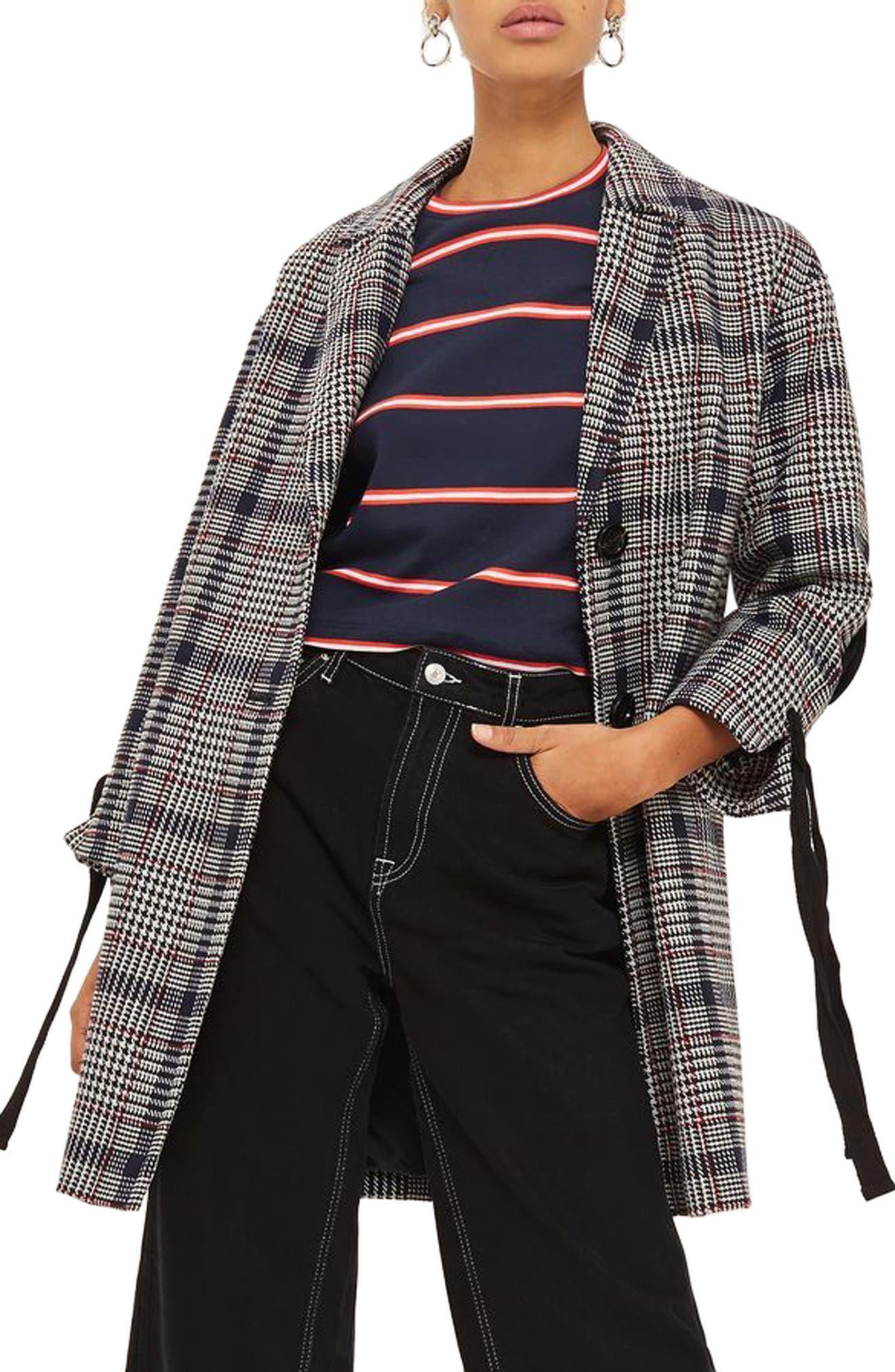 Lace-Up Sleeve Check Coat,                             Main thumbnail 1, color,                             Navy Blue Multi