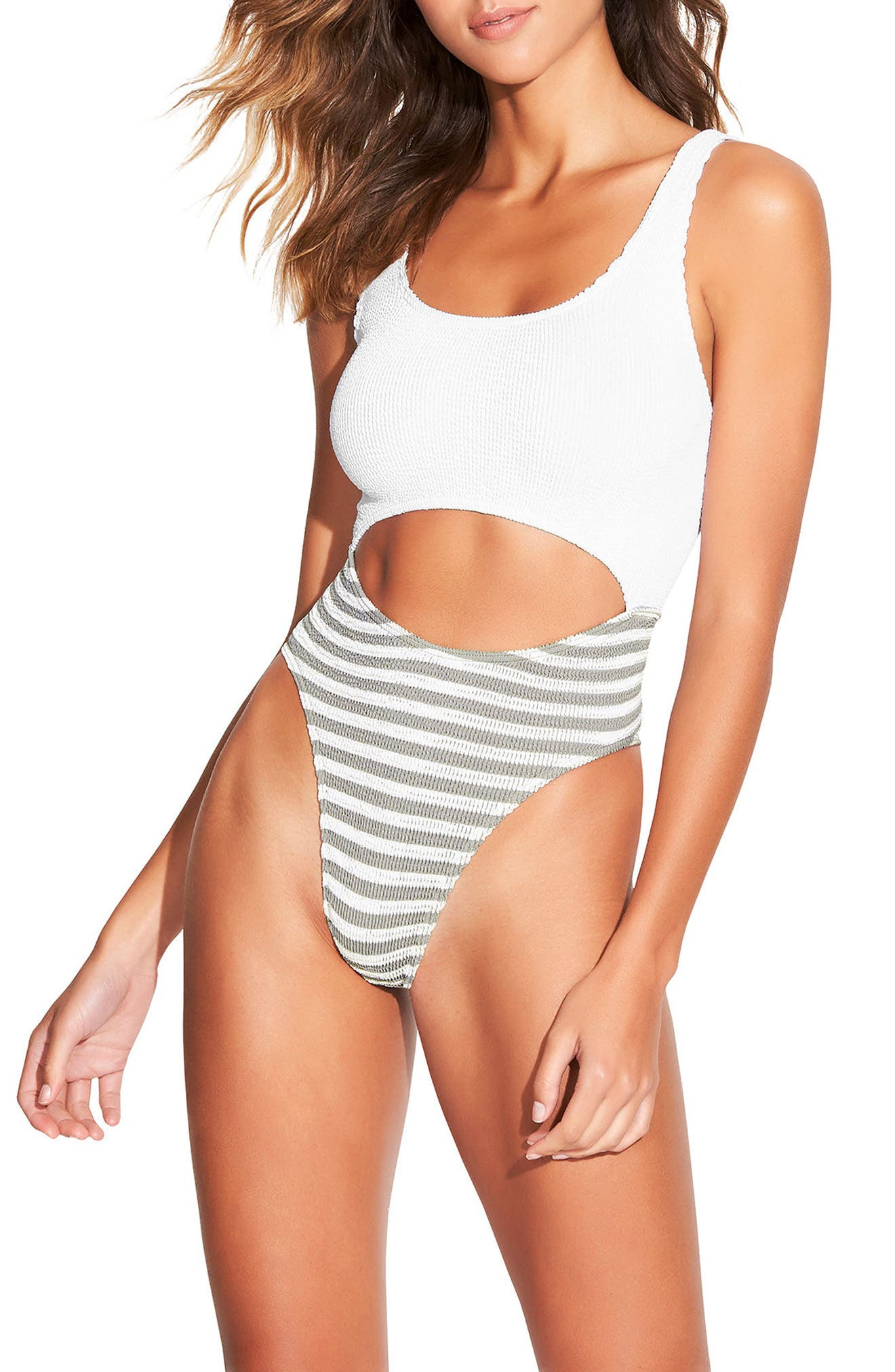 The Mishy One-Piece Swimsuit,                         Main,                         color, White/ Stone