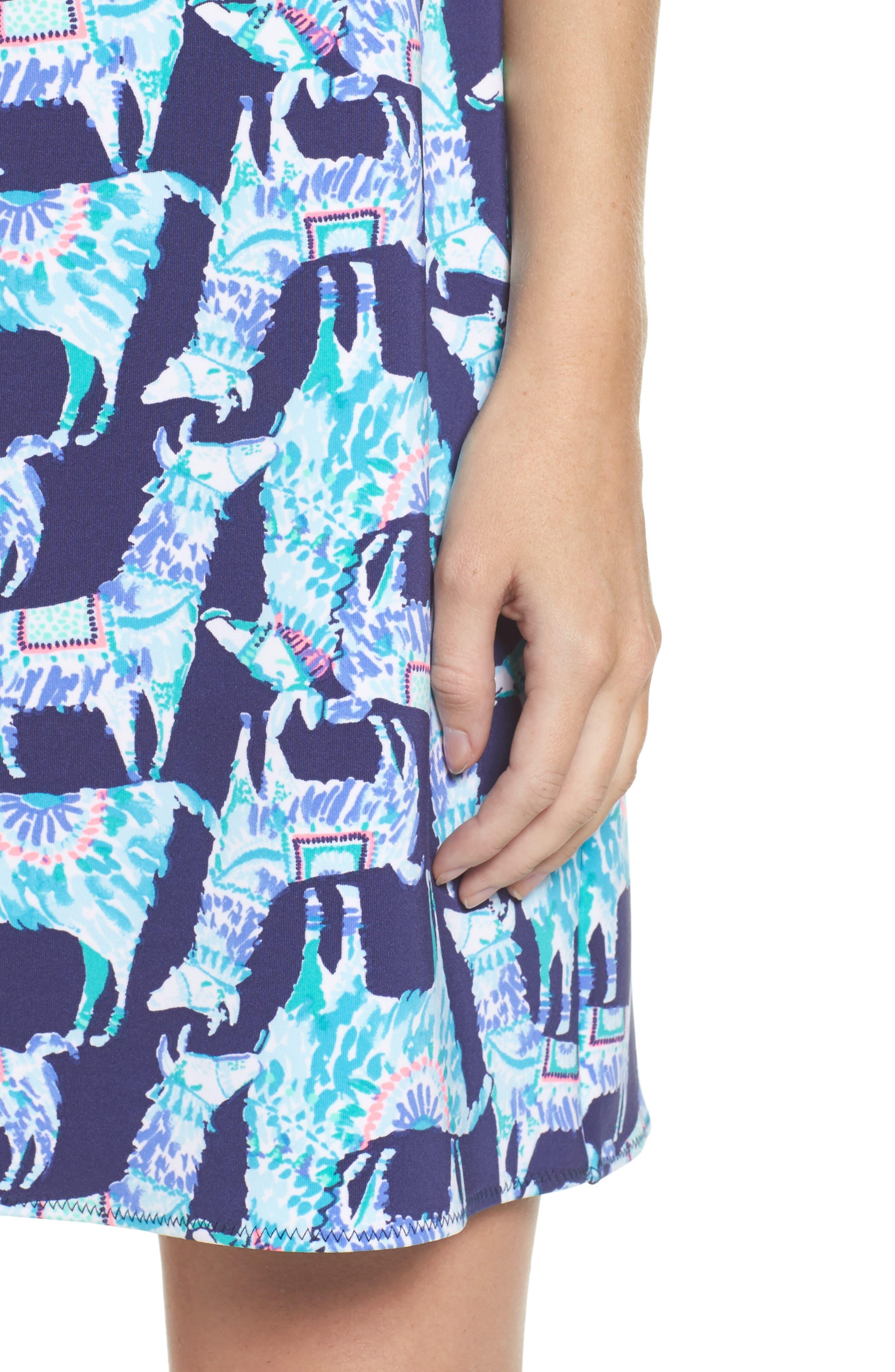 Opal Shift Dress,                             Alternate thumbnail 4, color,                             Bright Navy Alpaca My Bags