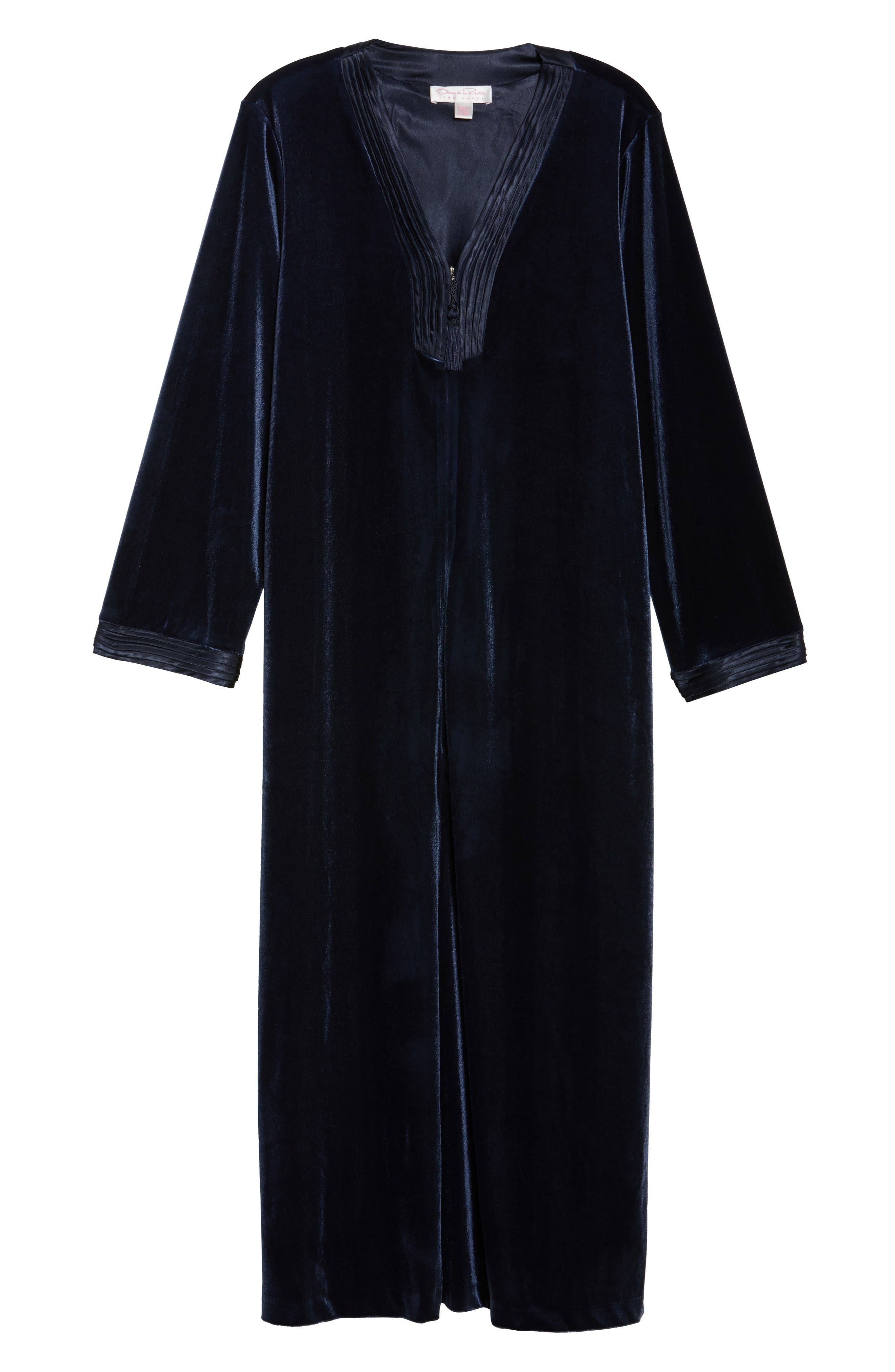 Sleepwear Velvet Caftan,                             Alternate thumbnail 4, color,                             Blue