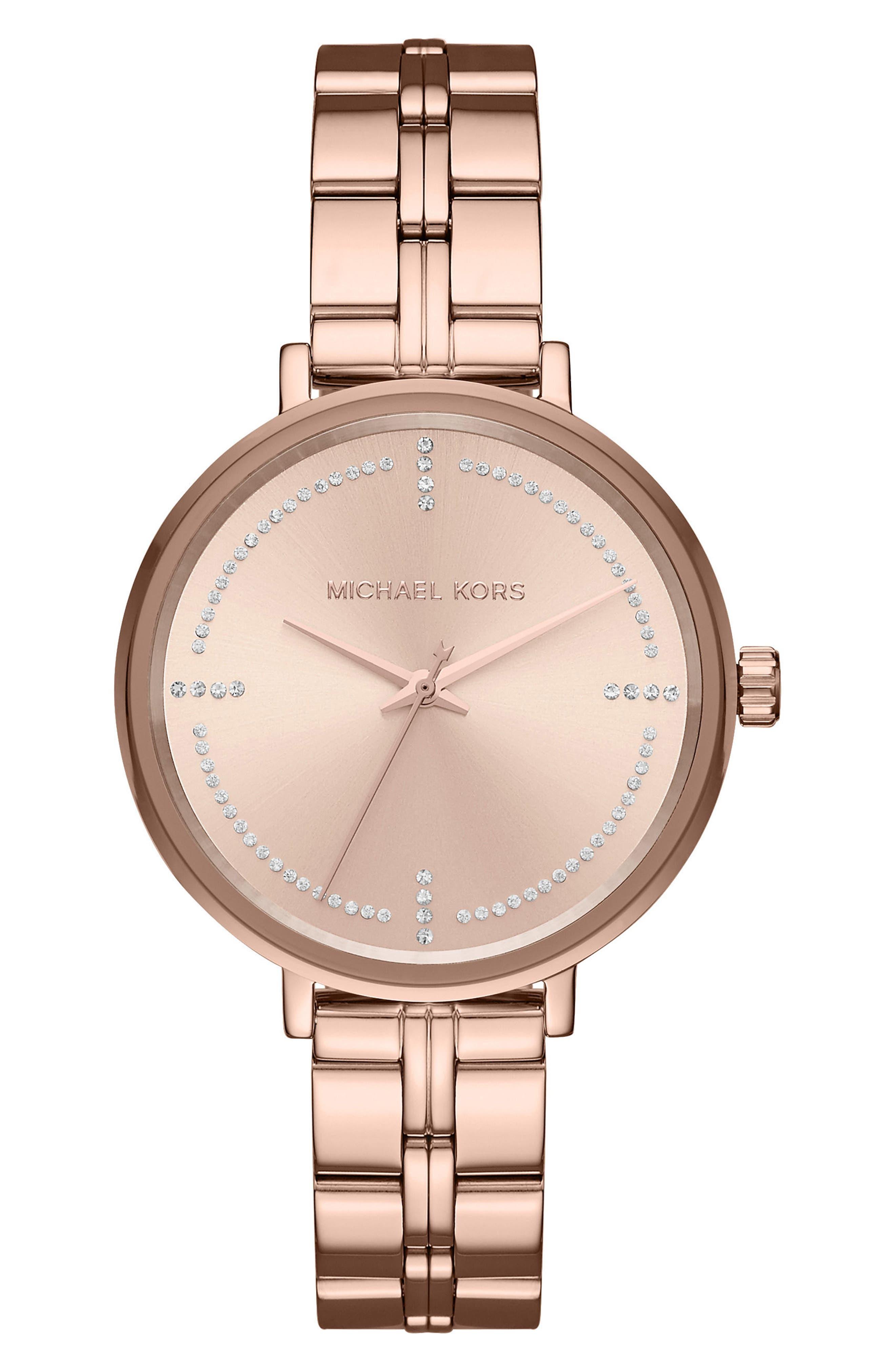 Bridgette Crystal Bracelet Watch, 38mm,                             Main thumbnail 1, color,                             Rose Gold
