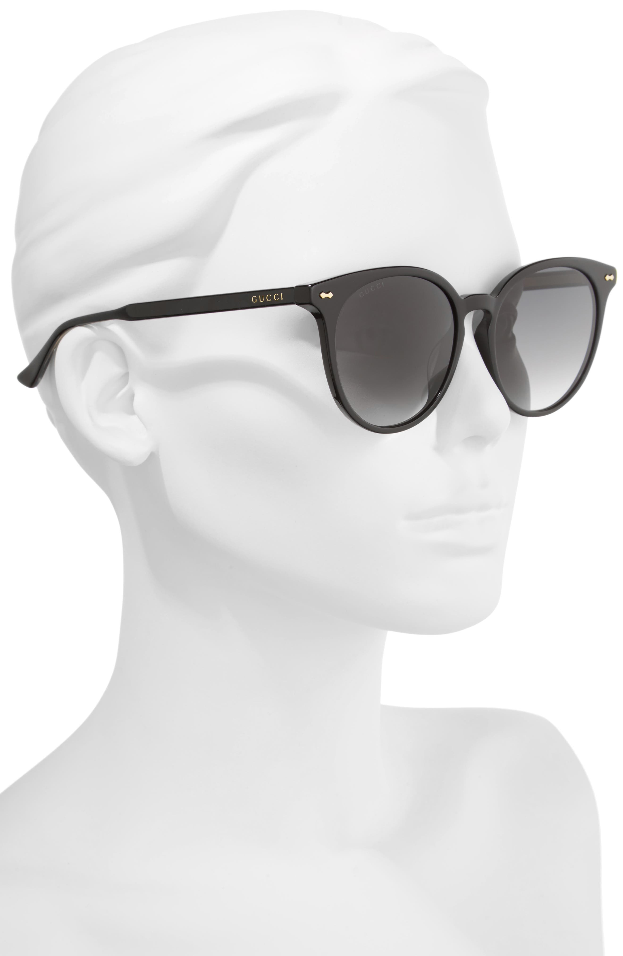 55mm Round Cat Eye Sunglasses,                             Alternate thumbnail 2, color,                             Black