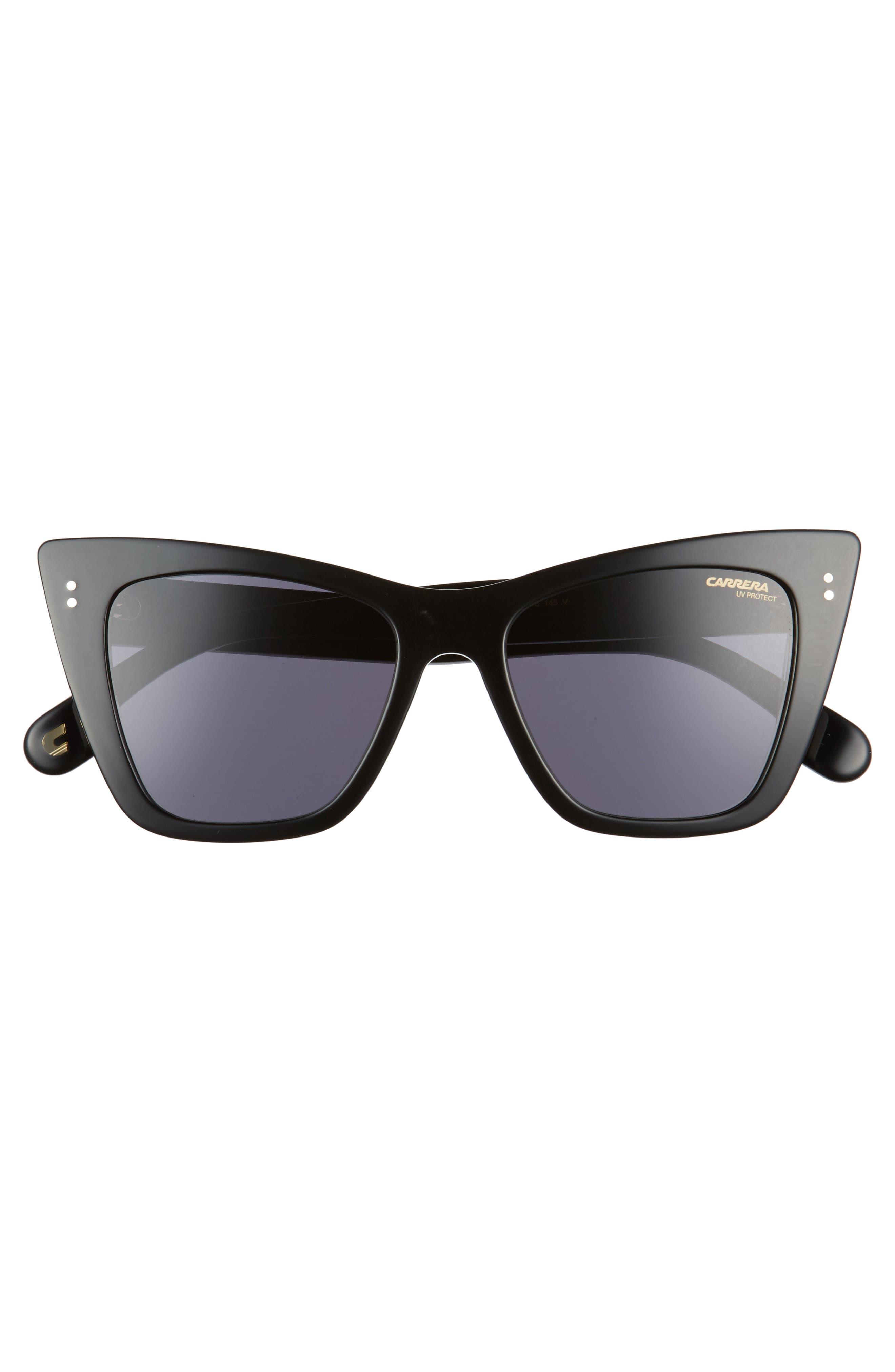 52mm Cat Eye Sunglasses,                             Alternate thumbnail 3, color,                             Black