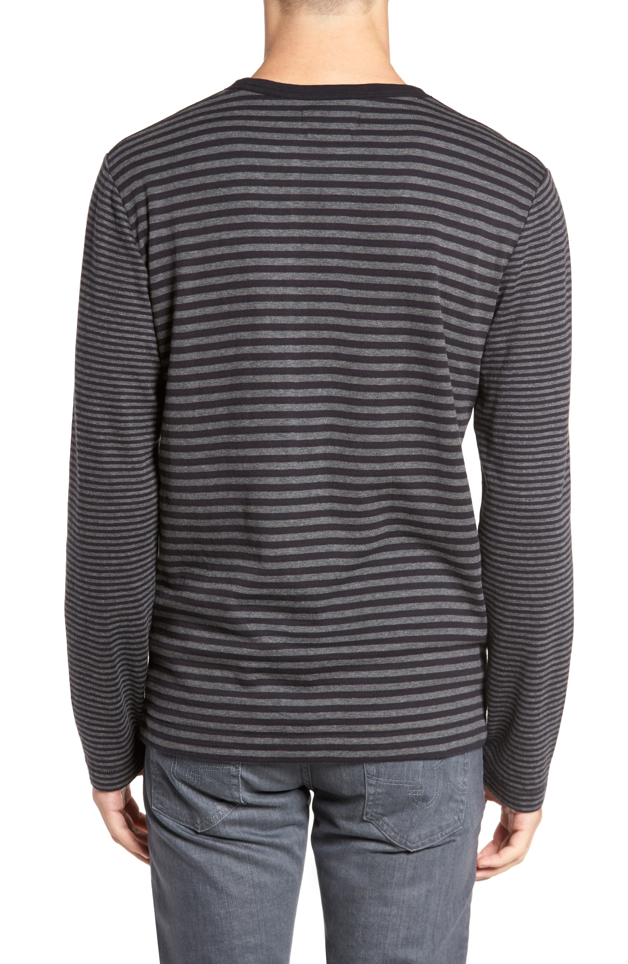 Alternative Stripe Long Sleeve T-Shirt,                             Alternate thumbnail 2, color,                             Charcoal Melange/ Black