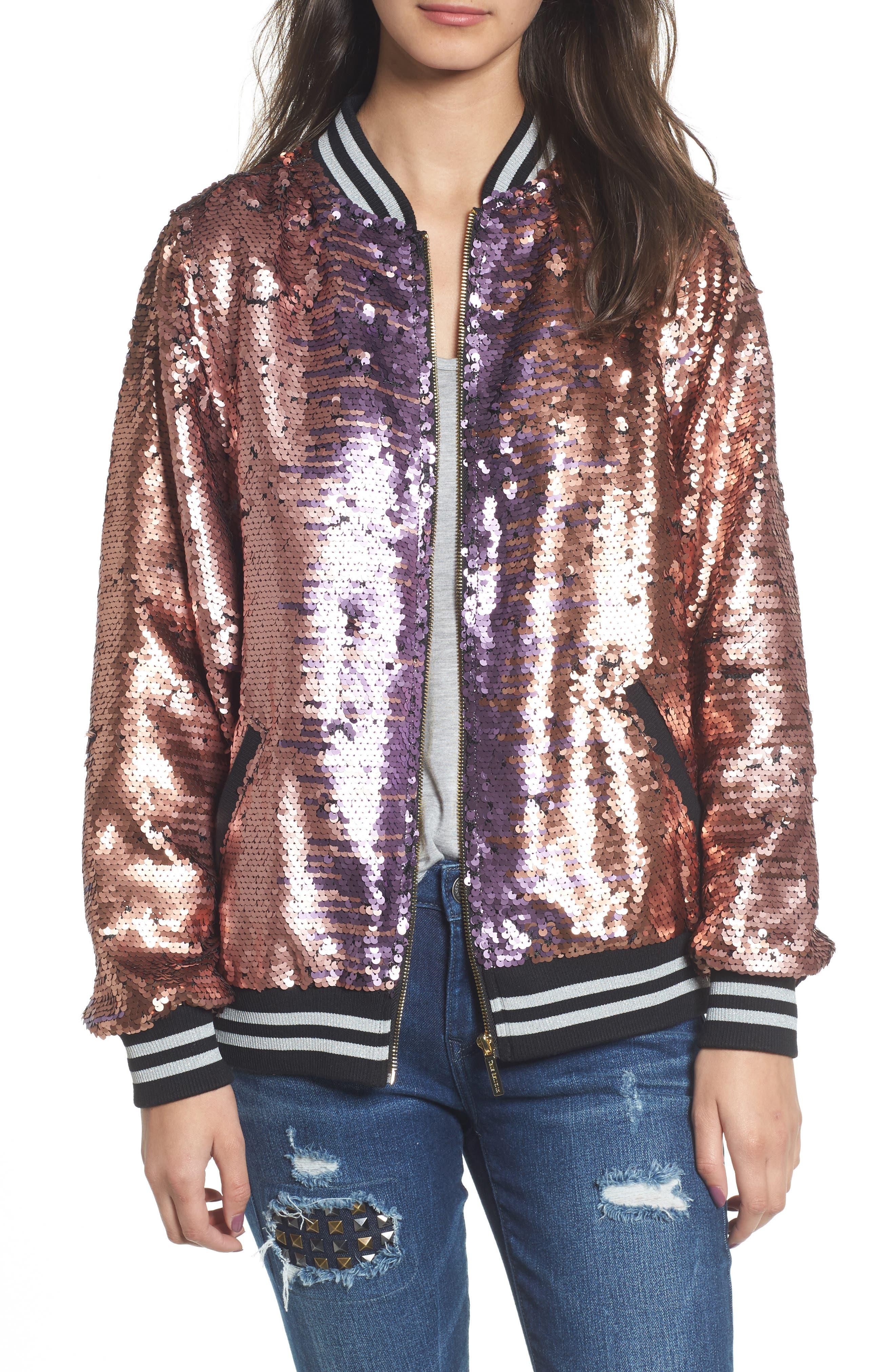 Pailette Bomber Jacket,                             Main thumbnail 1, color,                             Blush Purple