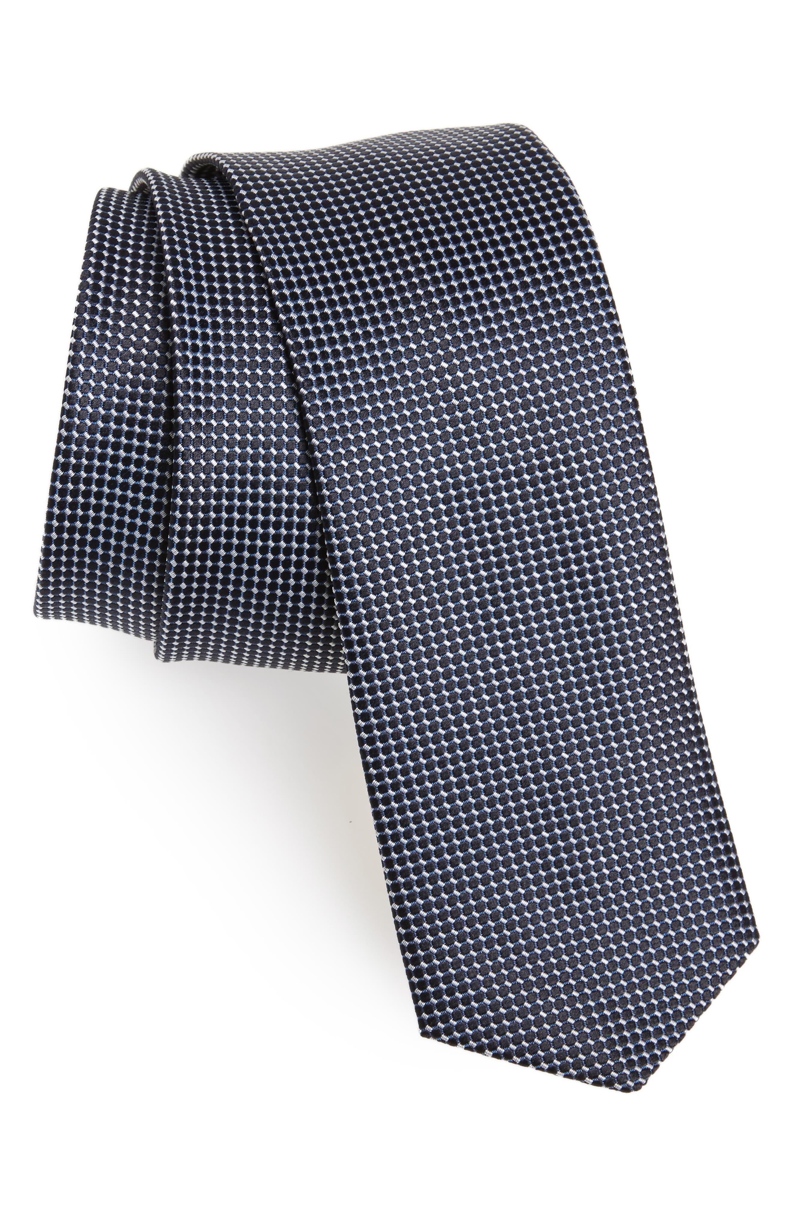 Geometric Silk Skinny Tie,                         Main,                         color, Blue