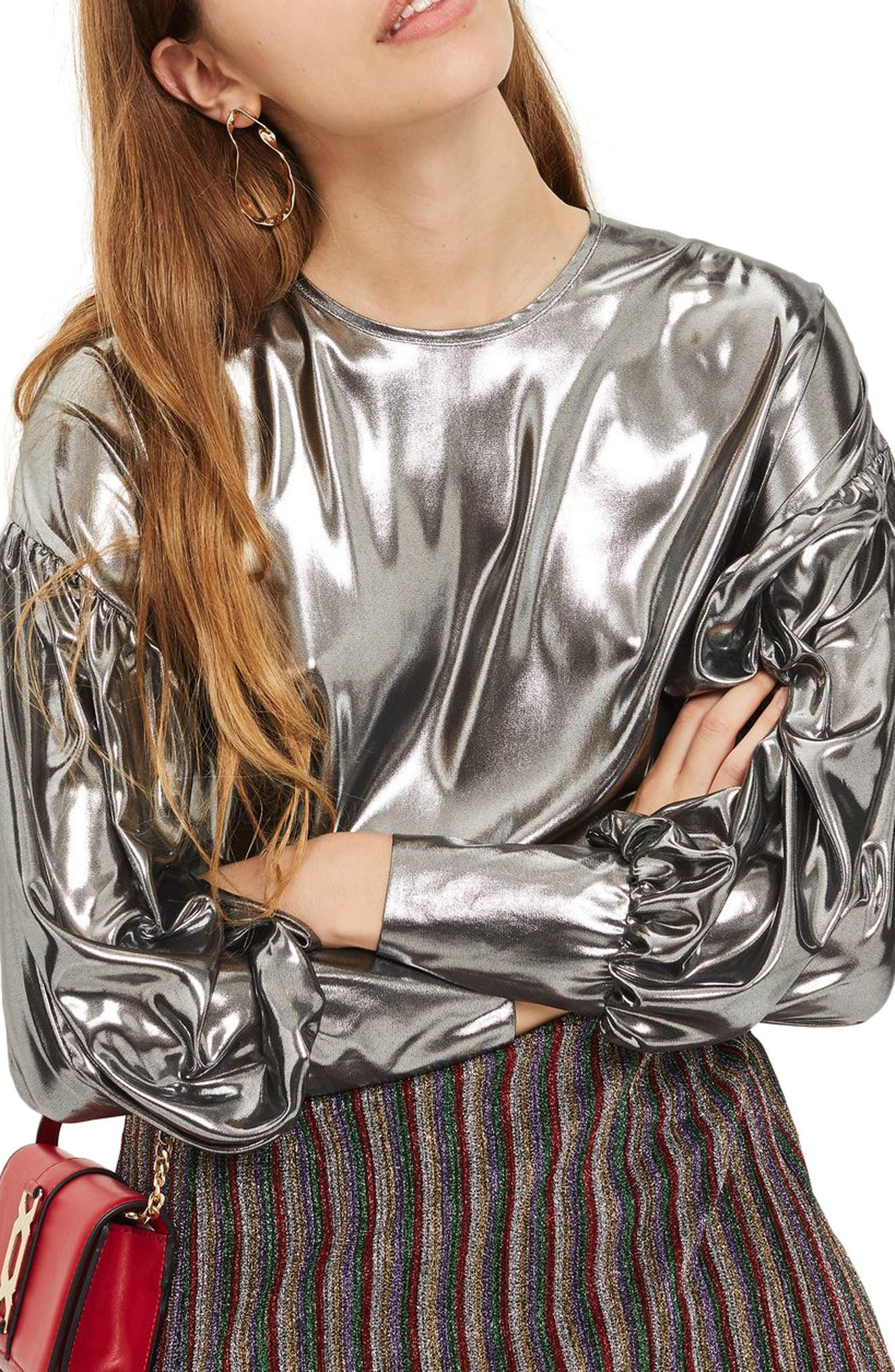 Balloon Sleeve Lamé Blouse,                         Main,                         color, Silver