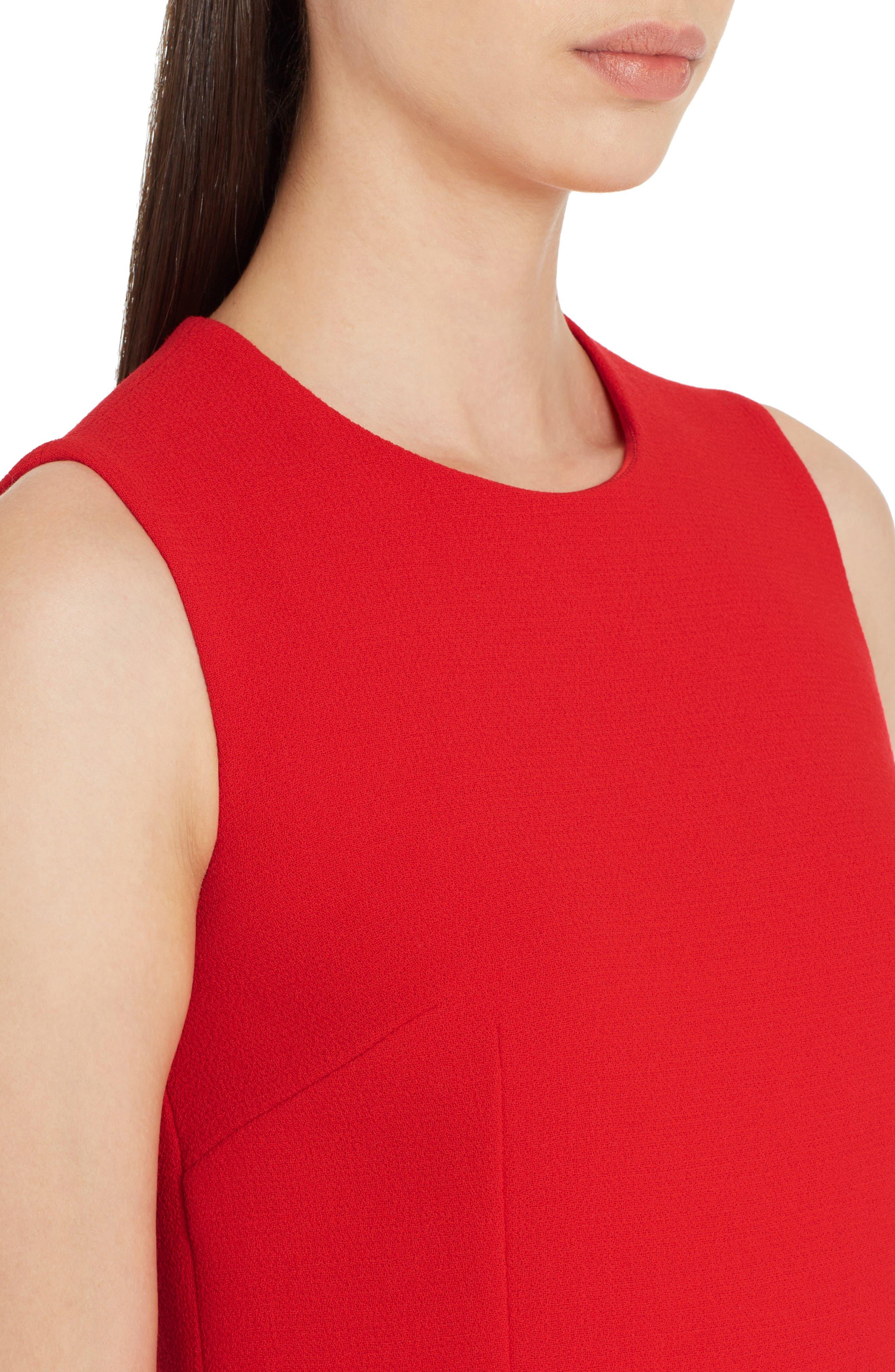 Crepe Shift Dress,                             Alternate thumbnail 4, color,                             Red