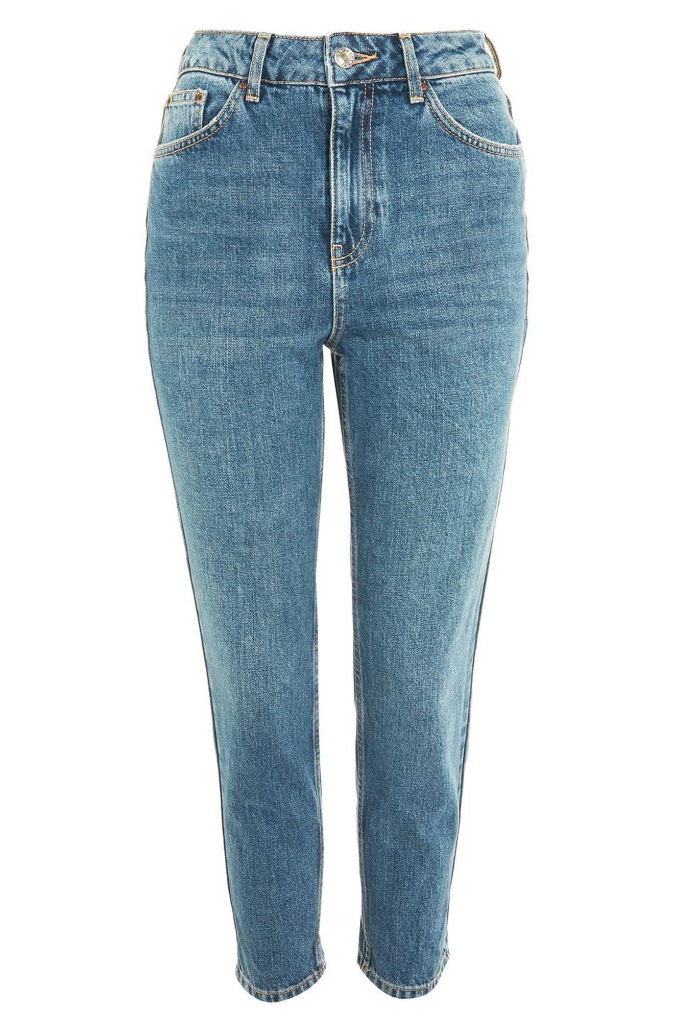 Crop Mom Jeans,                             Alternate thumbnail 4, color,                             Blue