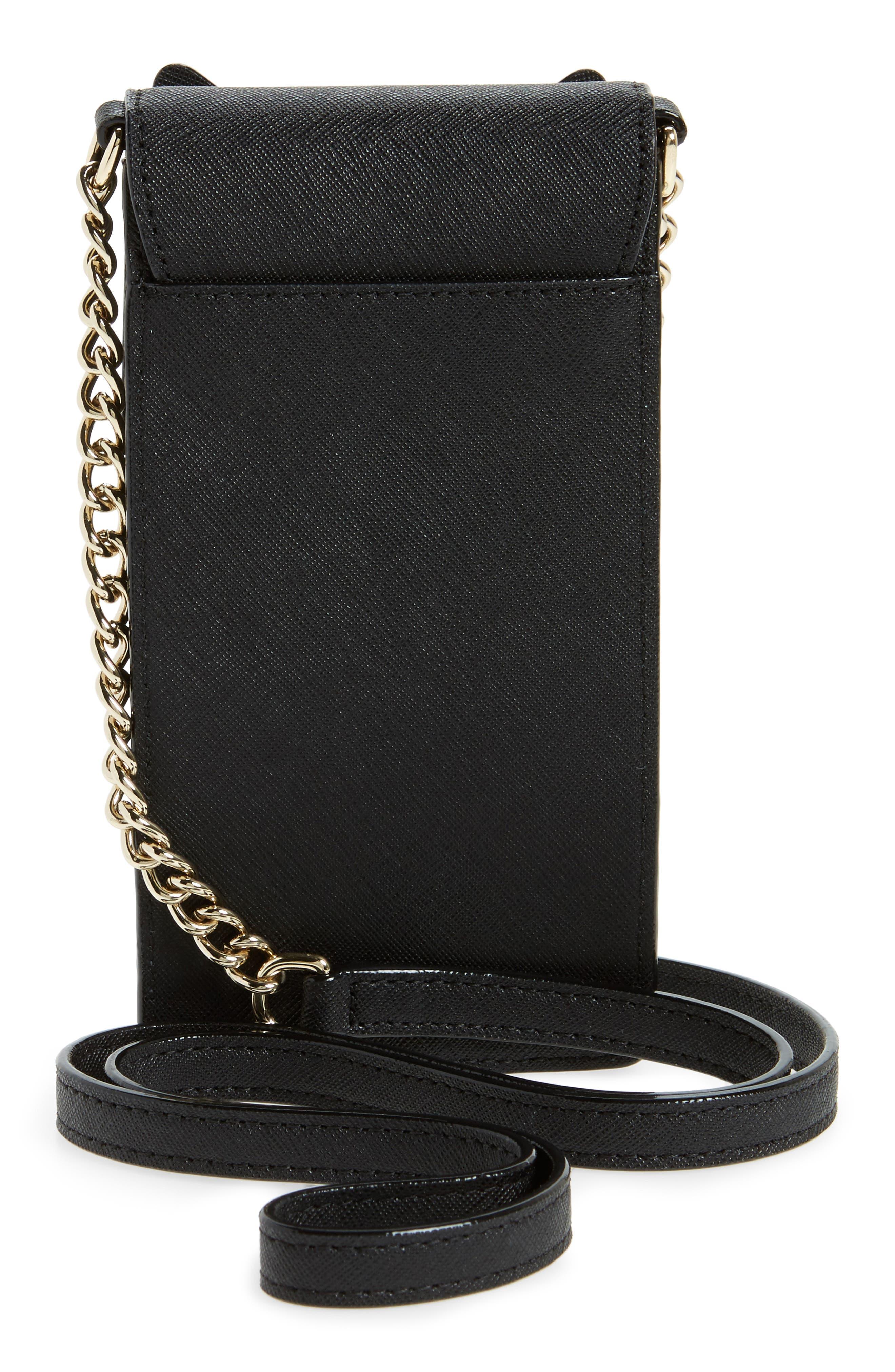 cat smartphone crossbody bag,                             Alternate thumbnail 3, color,                             Black
