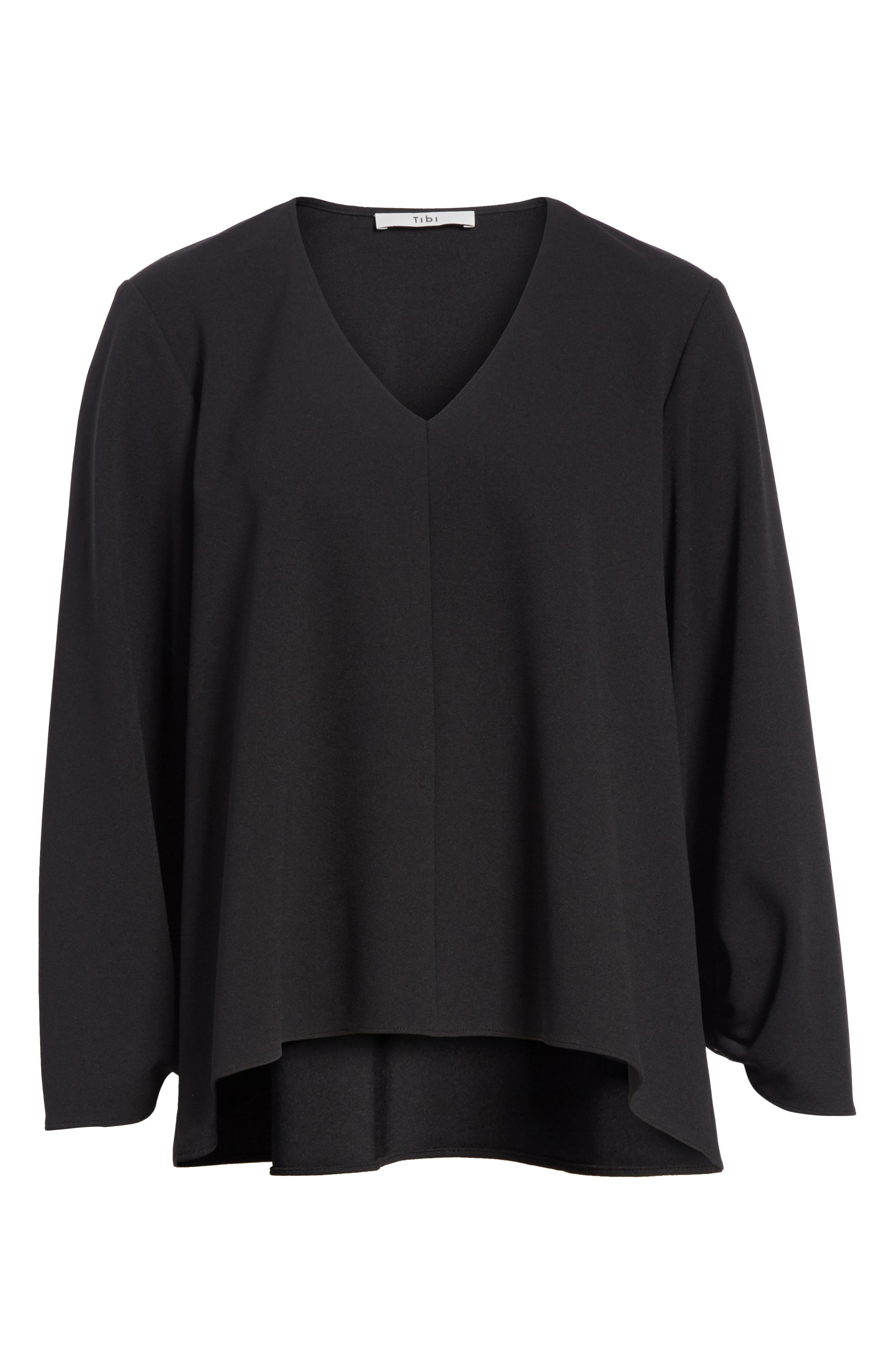 Cinched Sleeve Top,                             Alternate thumbnail 6, color,                             Black