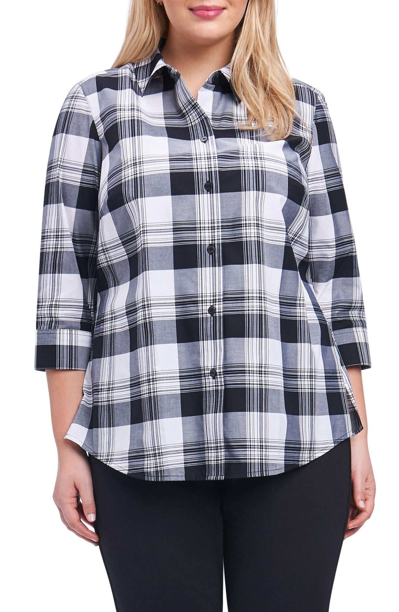 Main Image - Foxcroft Sue Shaped Fit Plaid Shirt (Plus Size)
