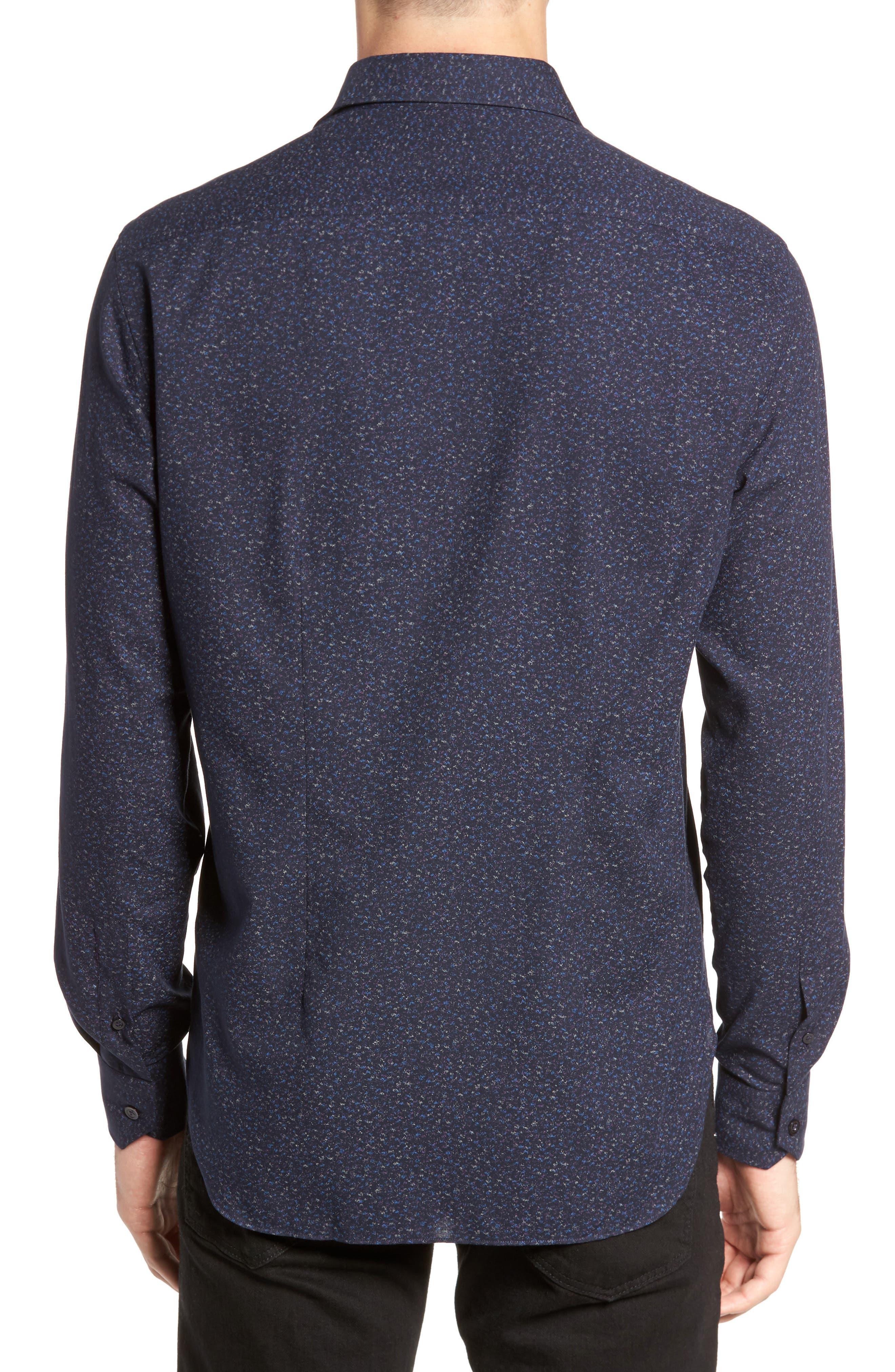 Speckled Sport Shirt,                             Alternate thumbnail 2, color,                             Navy