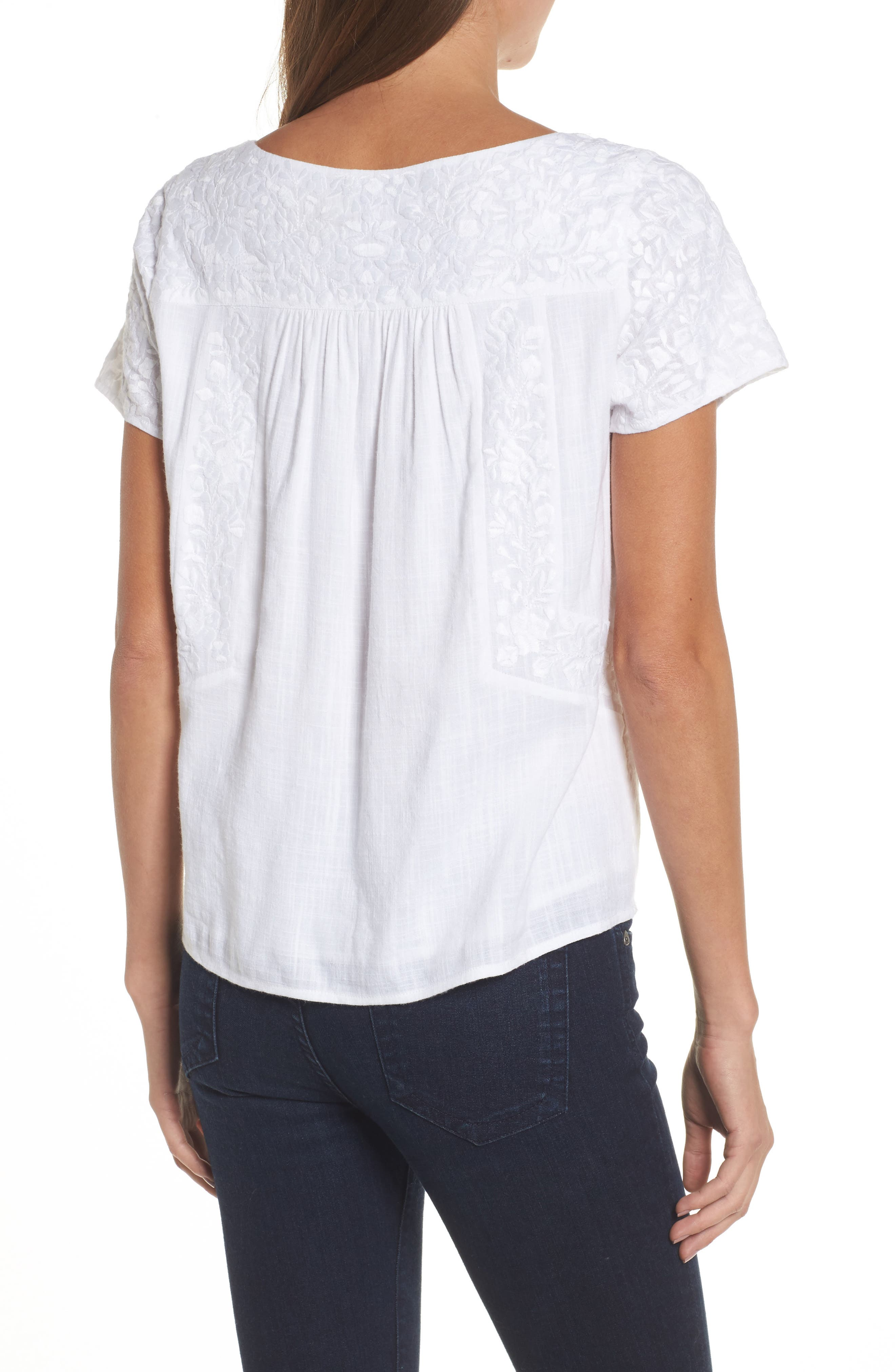 Monstera Linear Embroidered Top,                             Alternate thumbnail 2, color,                             White Cap