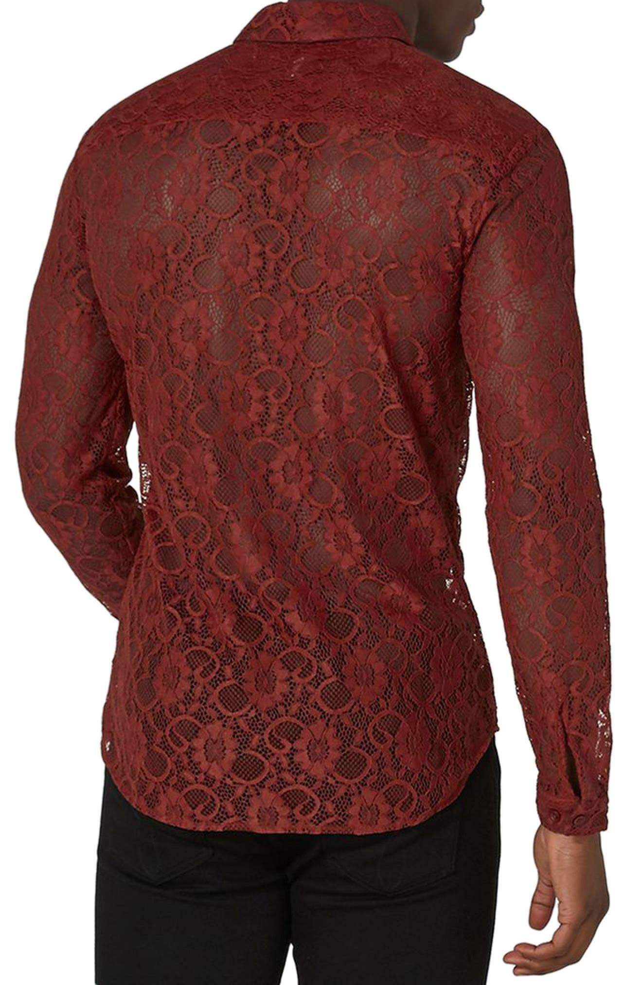 Muscle Fit Sheer Lace Shirt,                             Alternate thumbnail 2, color,                             Red