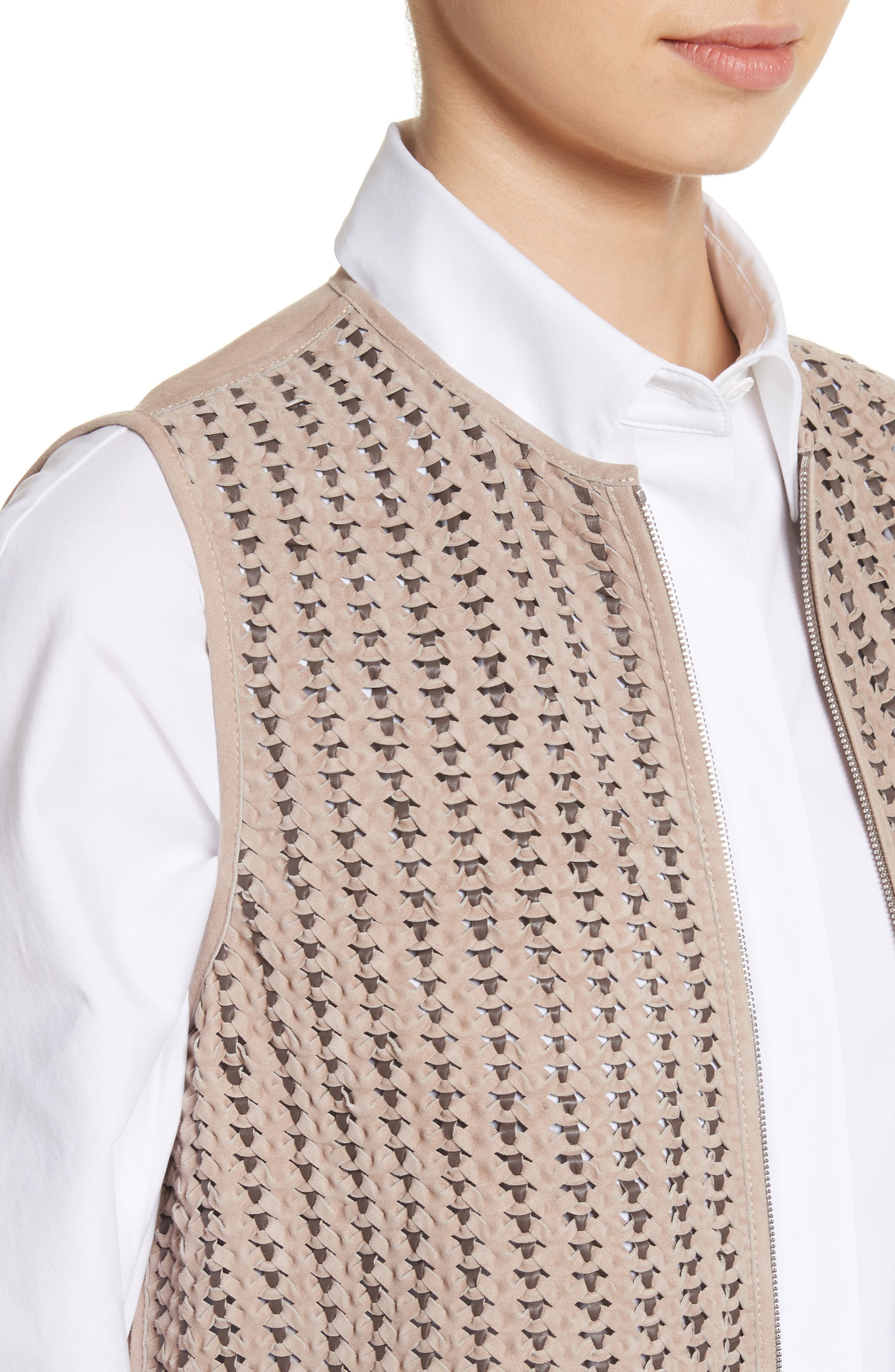 Laritza Braided Leather Vest,                             Alternate thumbnail 4, color,                             Osprey