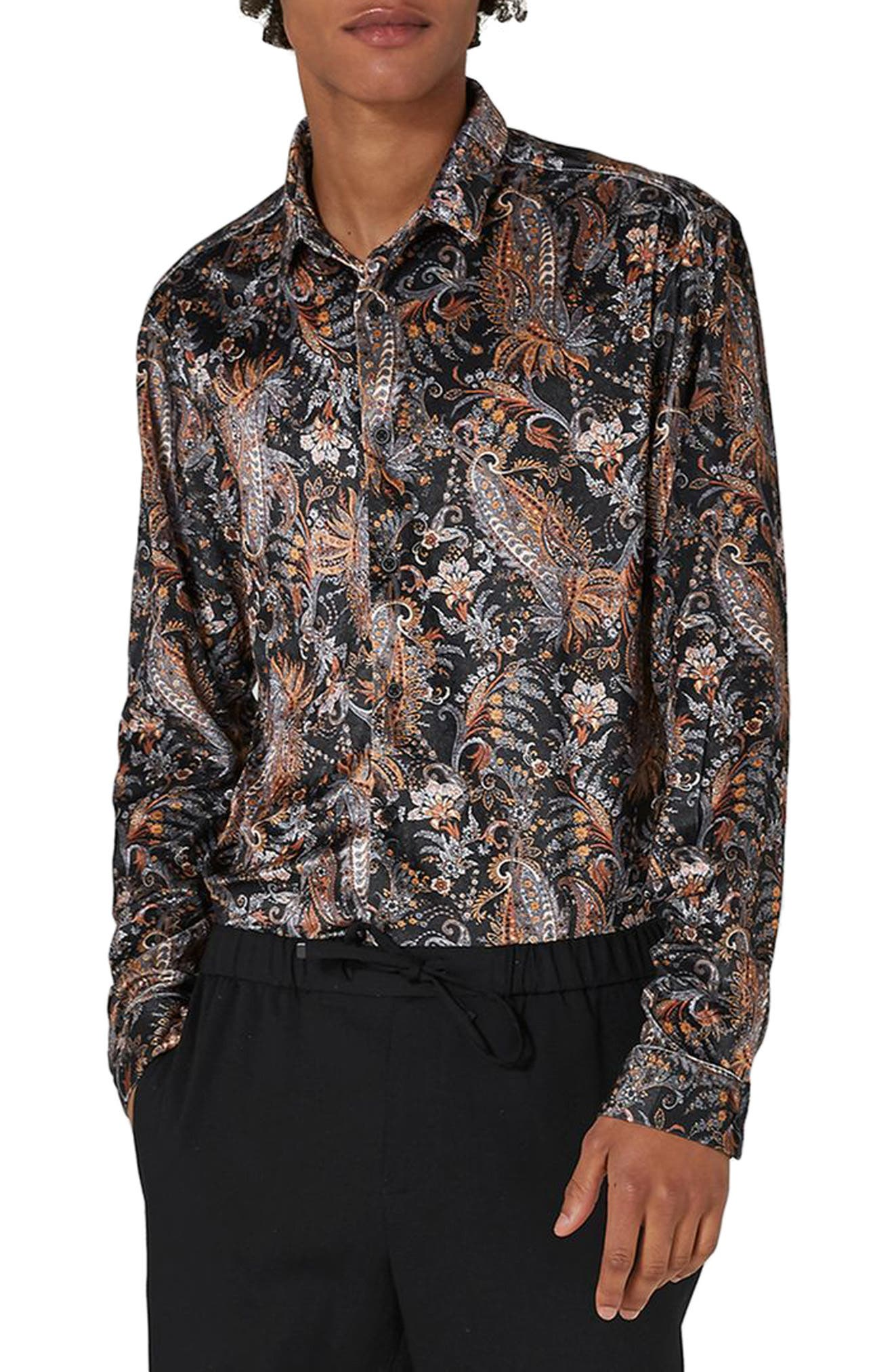 Classic Fit Paisley Velvet Shirt,                         Main,                         color, Black Multi