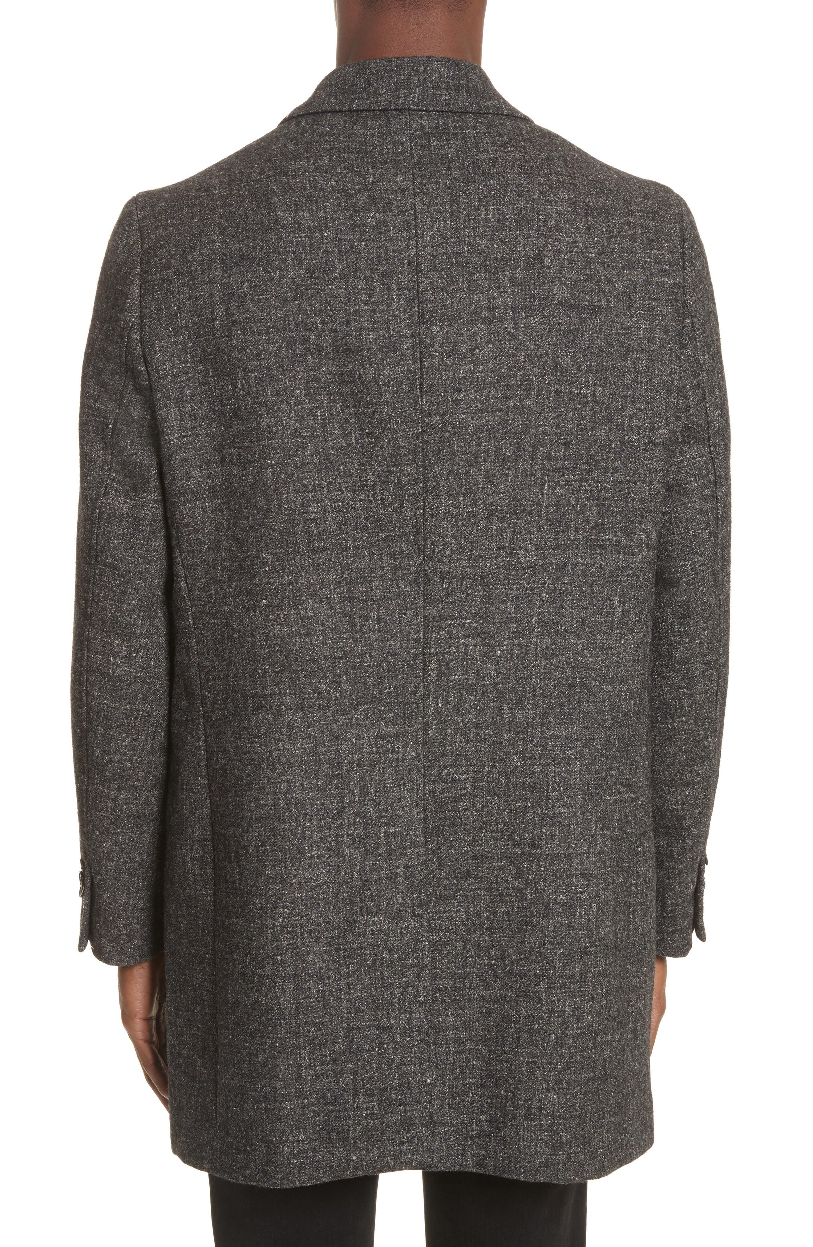 Walsh Wool & Linen Topcoat,                             Alternate thumbnail 2, color,                             Black/ Grey