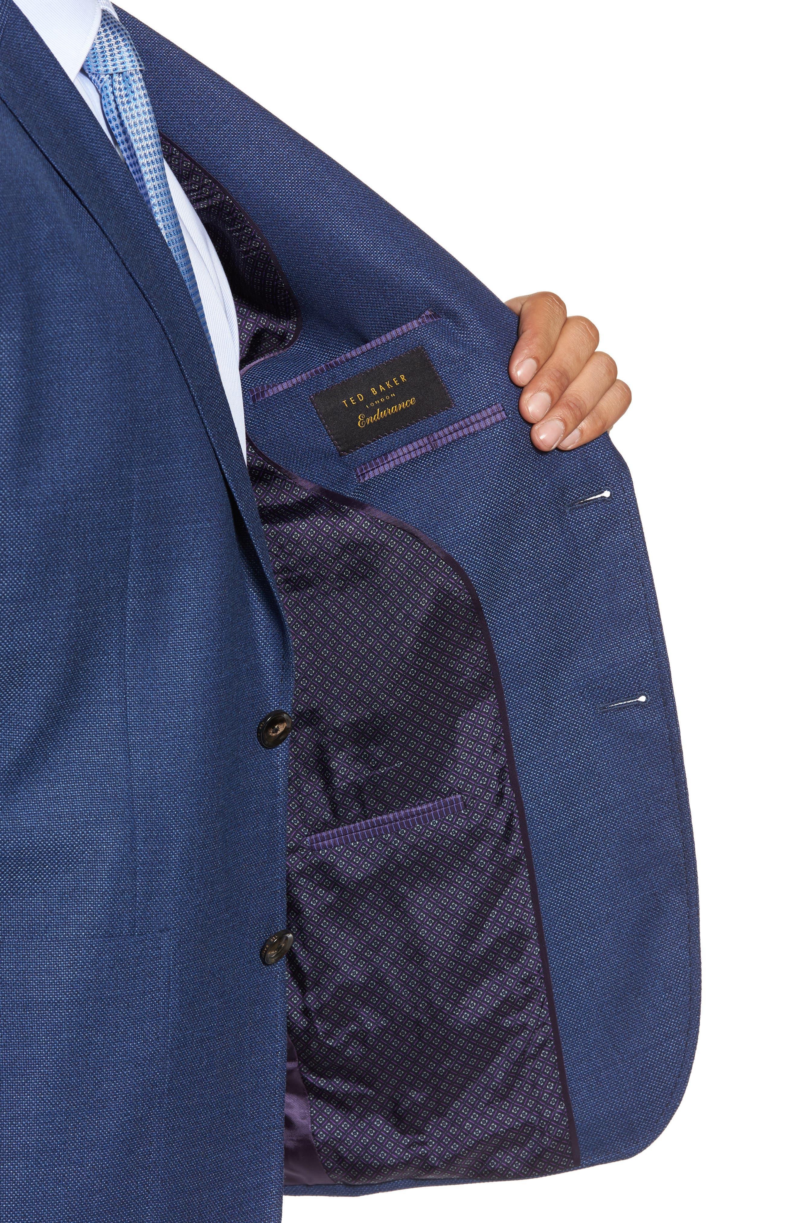 Kyle Trim Fit Wool Blazer,                             Alternate thumbnail 4, color,                             Mid Blue