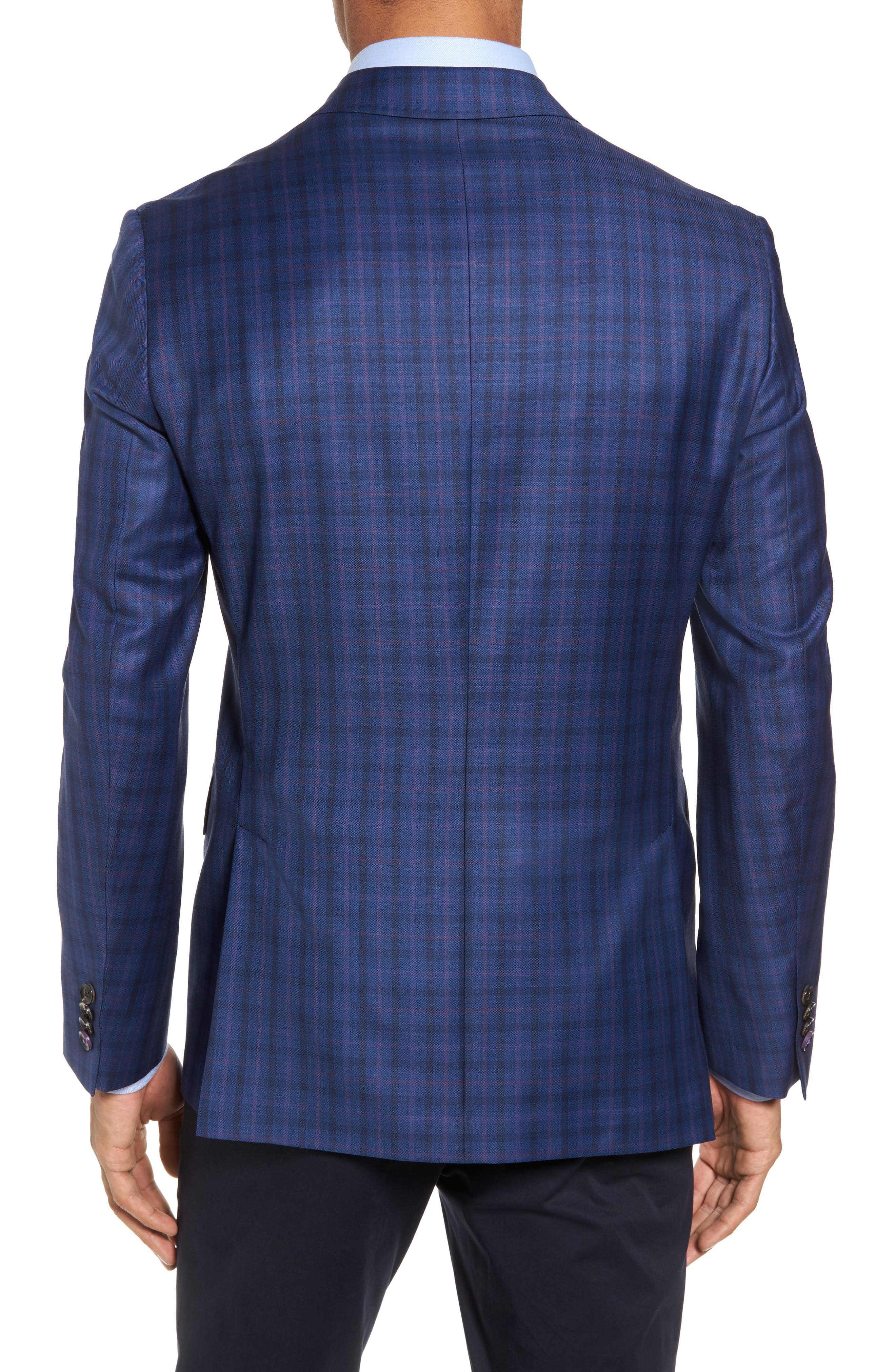 Konan Trim Fit Plaid Wool Sport Coat,                             Alternate thumbnail 2, color,                             Blue W/Light Berry Windowpane