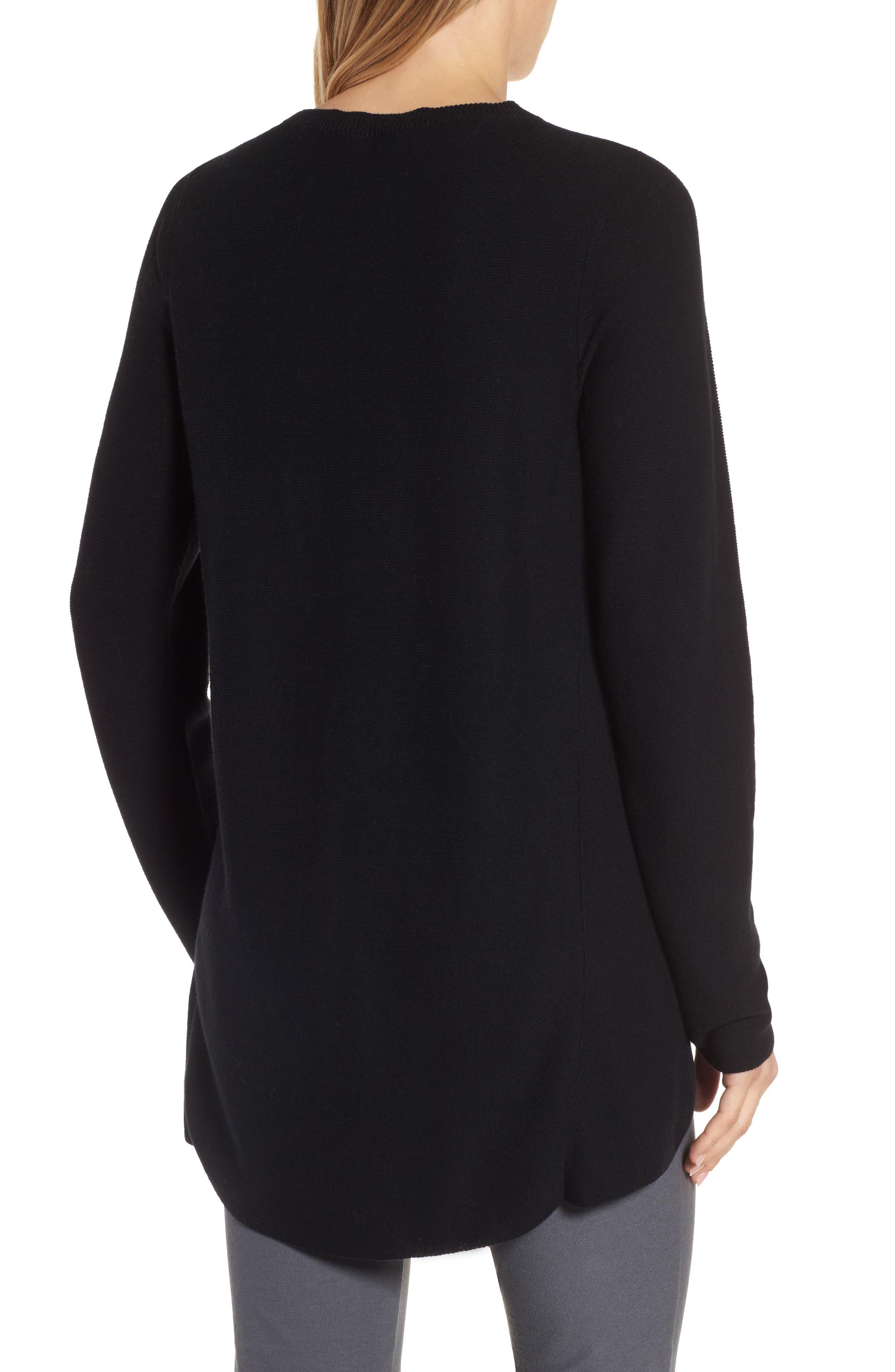 Organic Cotton Tunic Sweater,                             Alternate thumbnail 2, color,                             Black