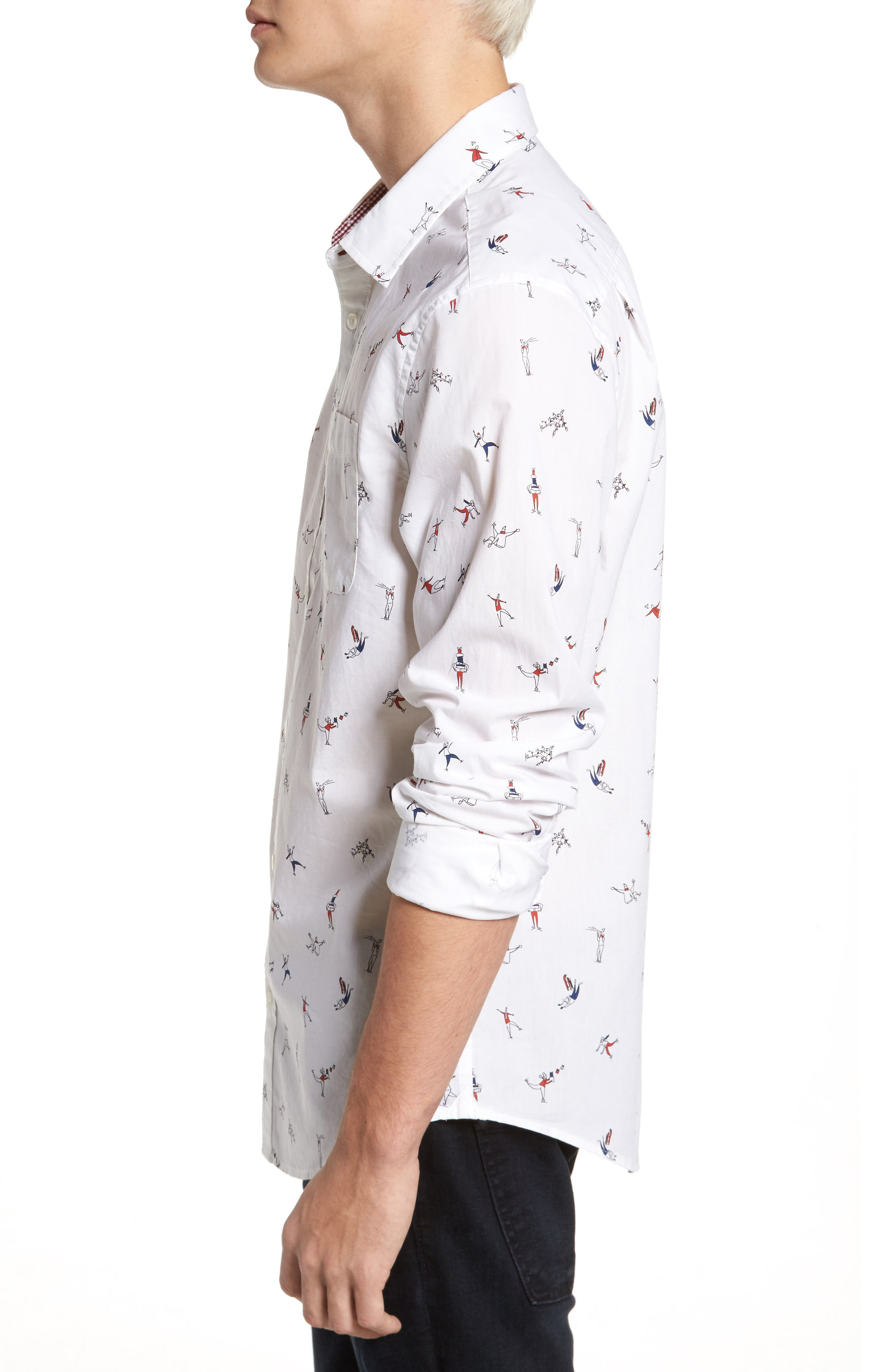 Clumsy Skaters Poplin Shirt,                             Alternate thumbnail 3, color,                             Bright White