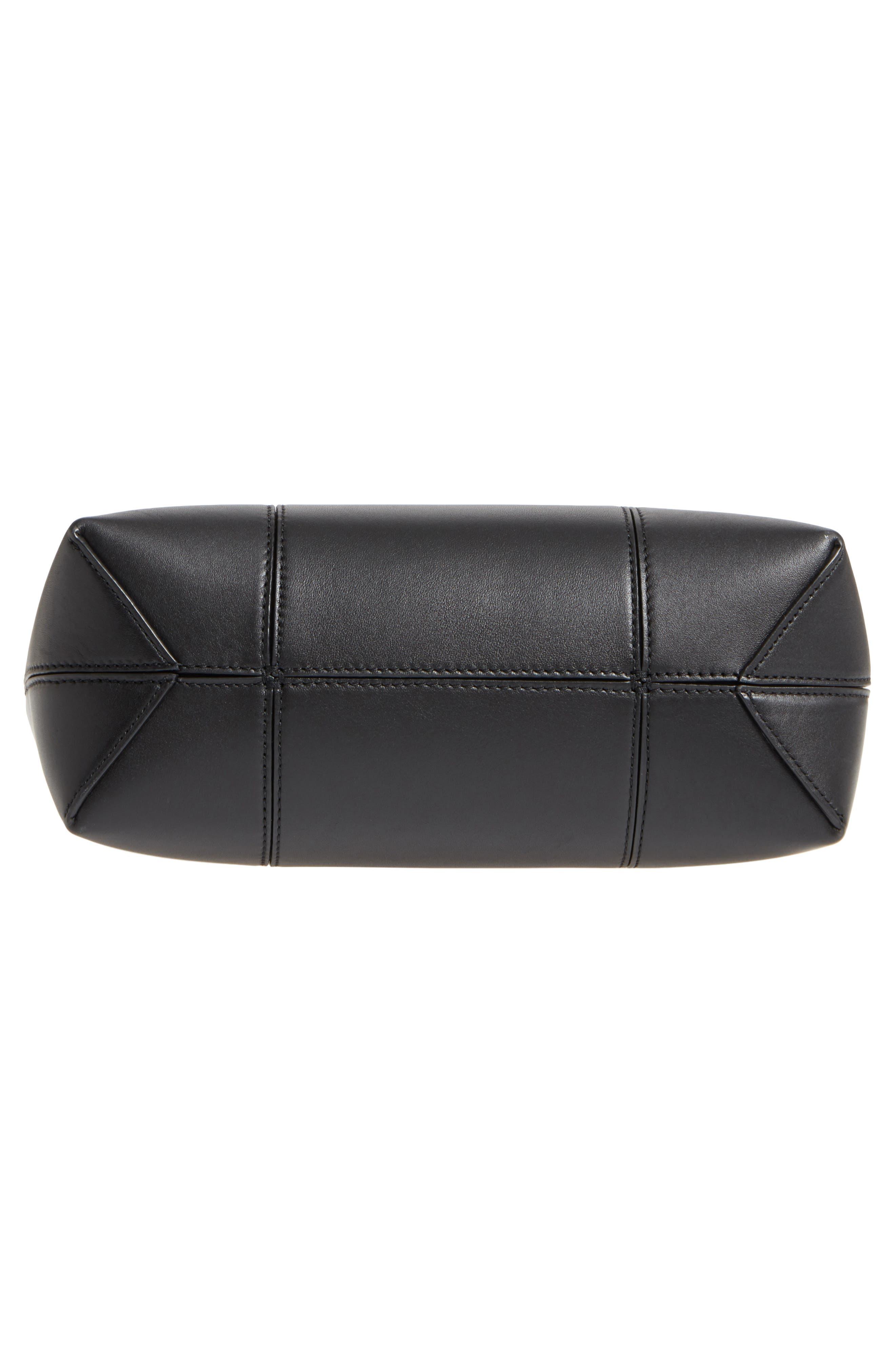 Block-T Mini Leather Tote,                             Alternate thumbnail 6, color,                             Black/Black