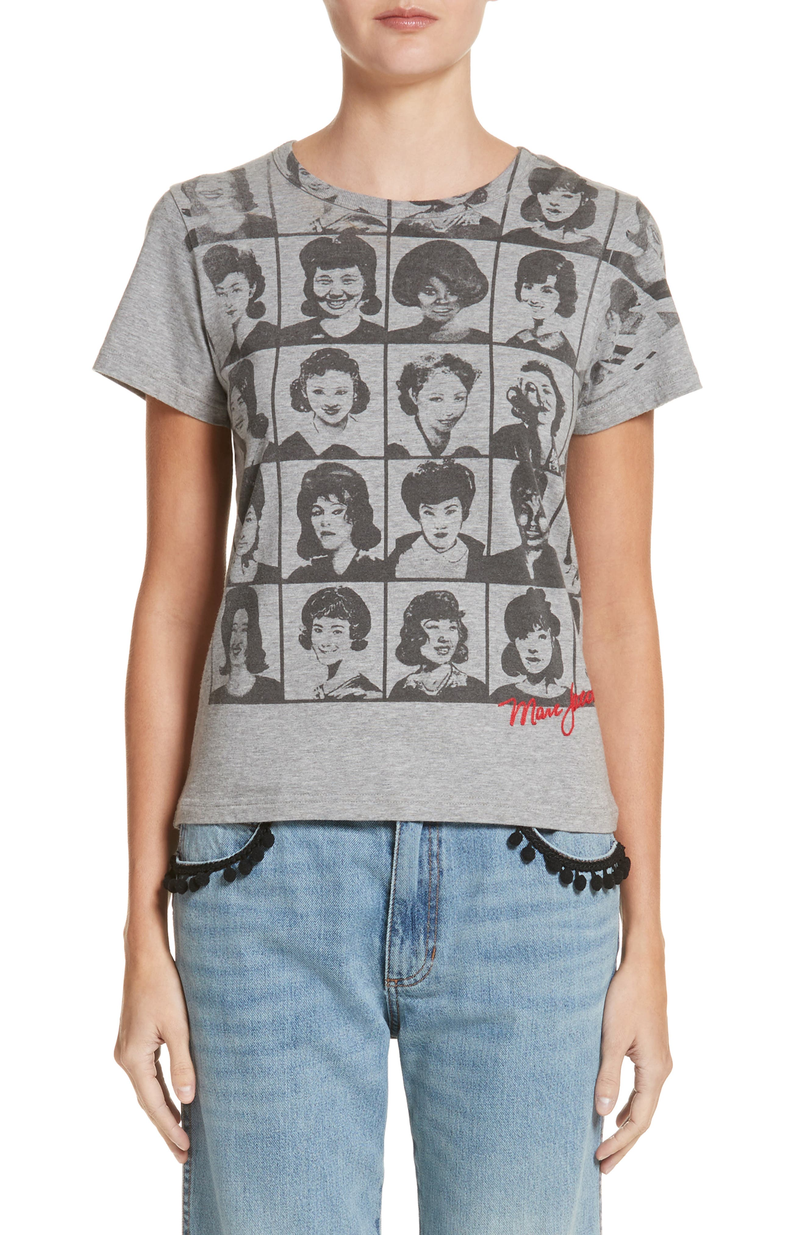Yearbook Print Embroidered Tee,                             Main thumbnail 1, color,                             Grey Melange