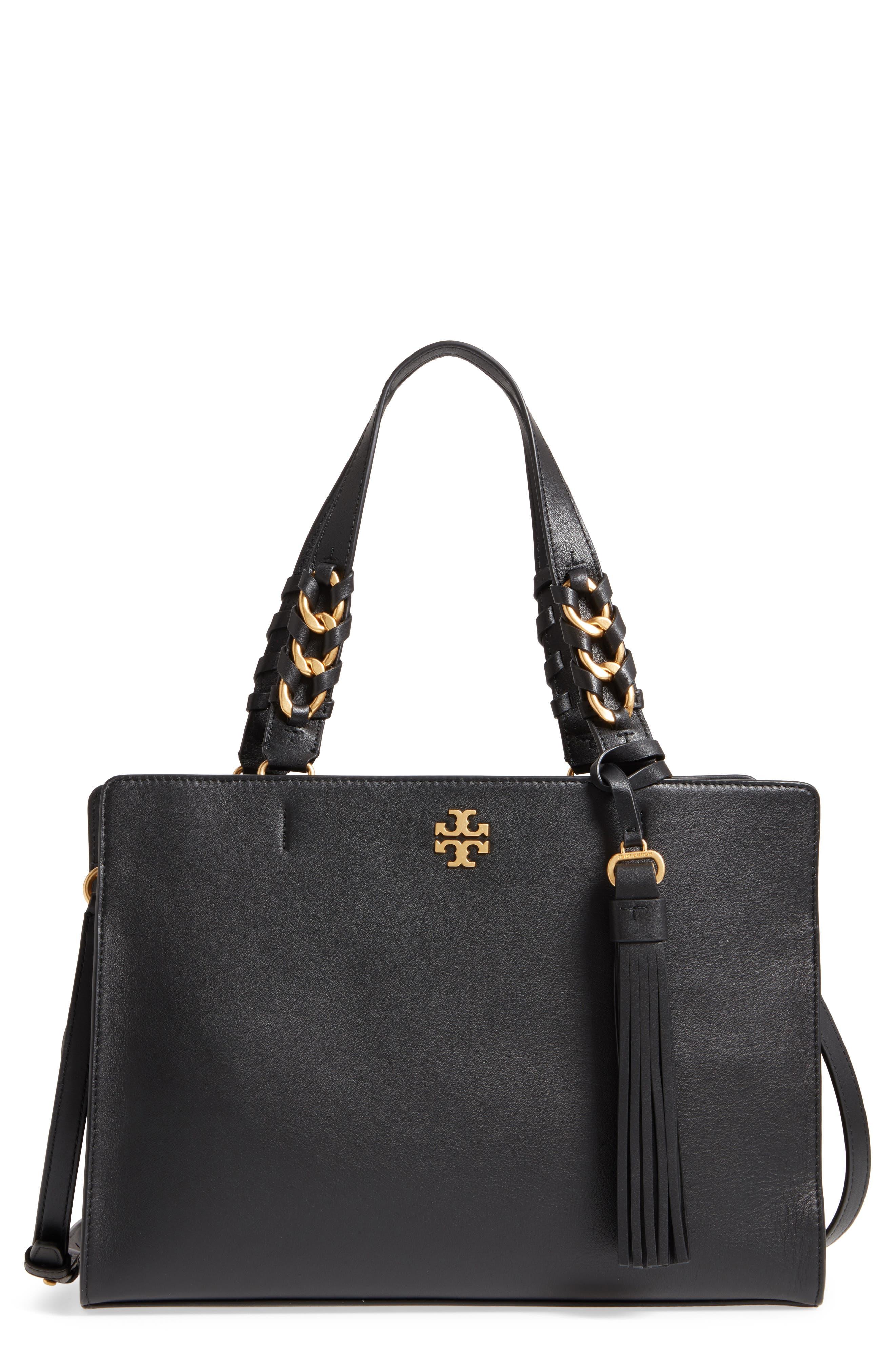Brooke Leather Satchel,                         Main,                         color, Black