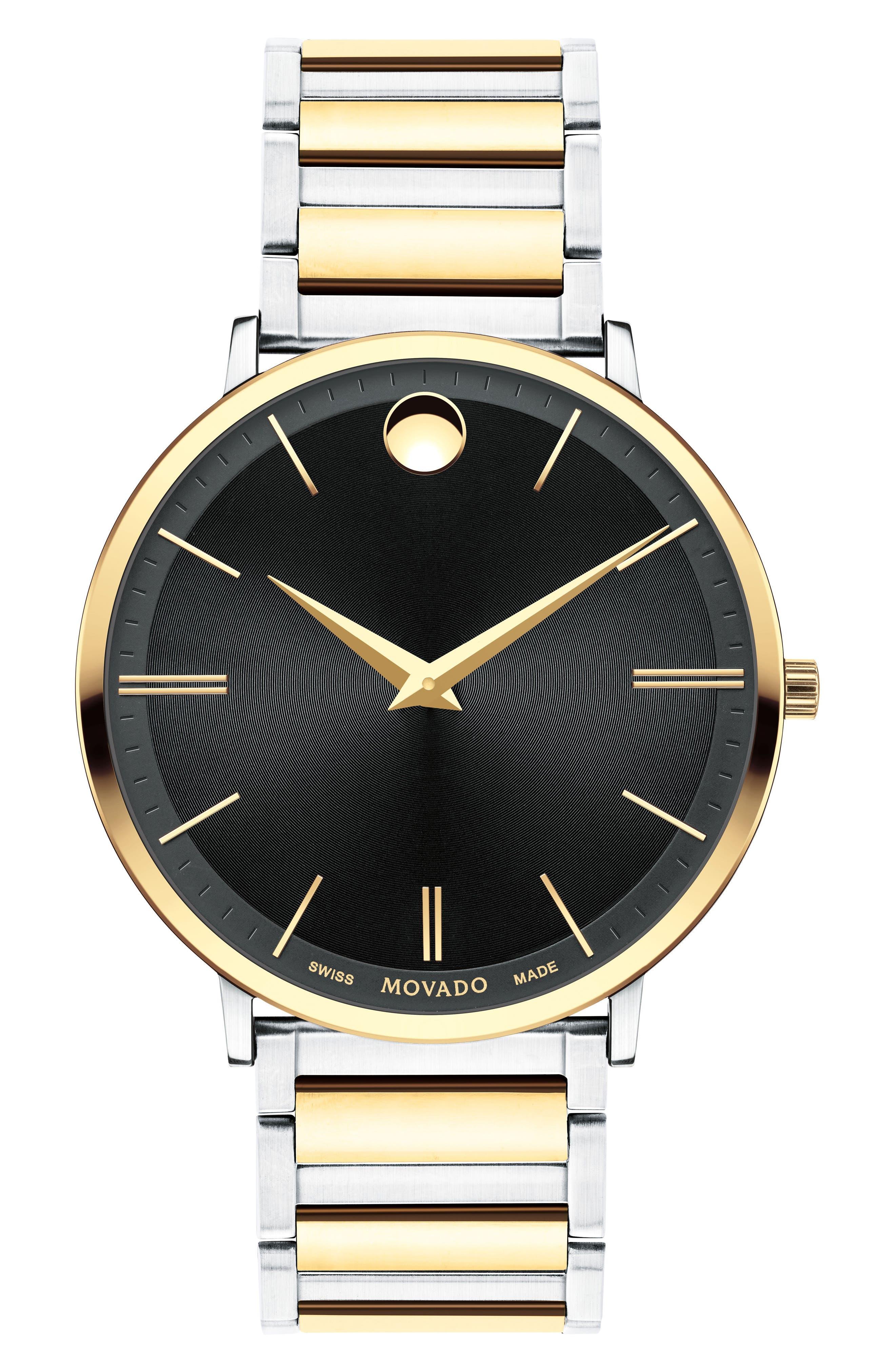 Ultra Slim Bracelet Watch, 40mm,                             Main thumbnail 1, color,                             Silver/ Black/ Gold