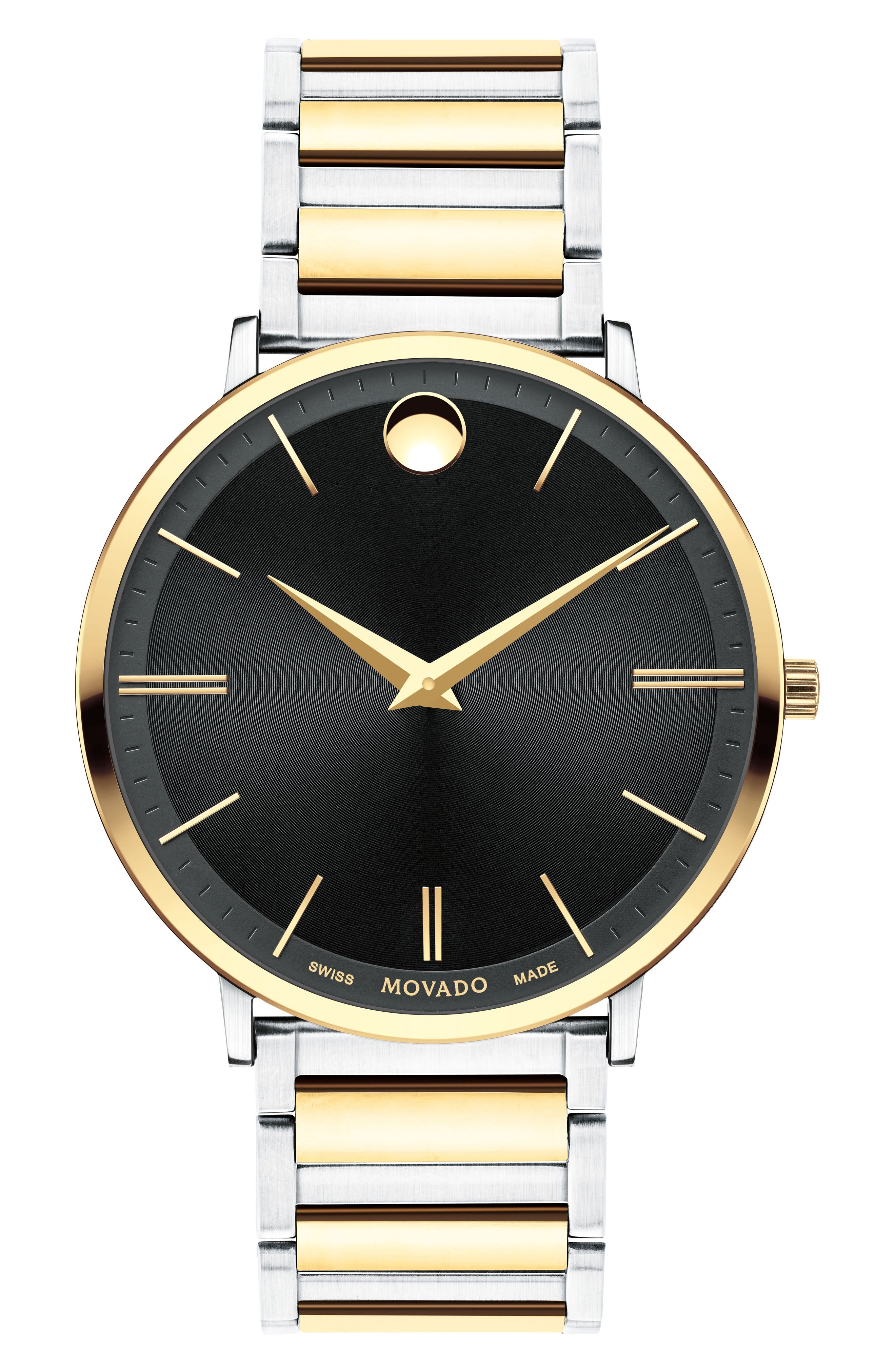 Ultra Slim Bracelet Watch, 40mm,                         Main,                         color, Silver/ Black/ Gold