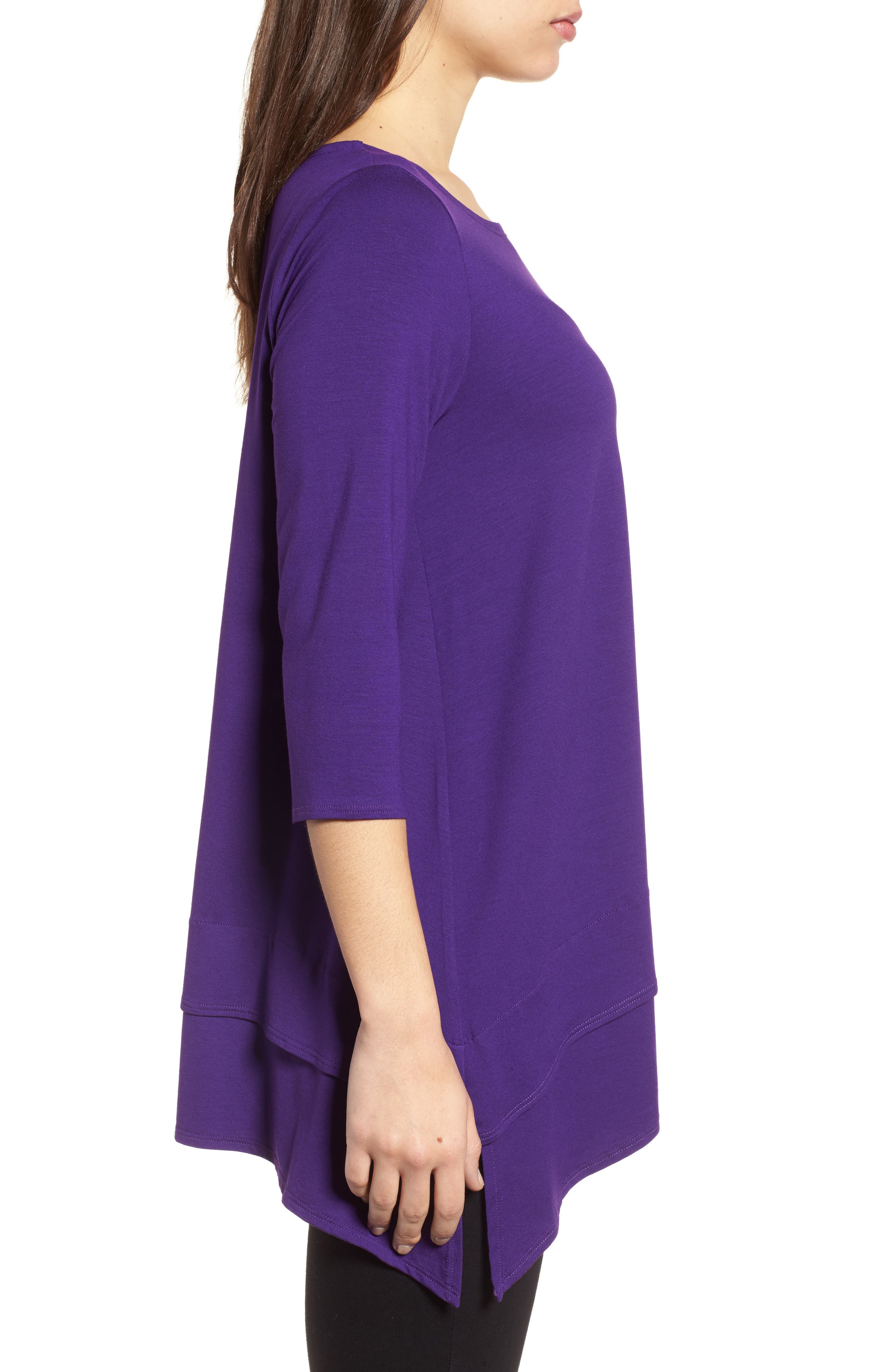 Tiered Handkerchief Hem Tunic,                             Alternate thumbnail 3, color,                             Ultraviolet