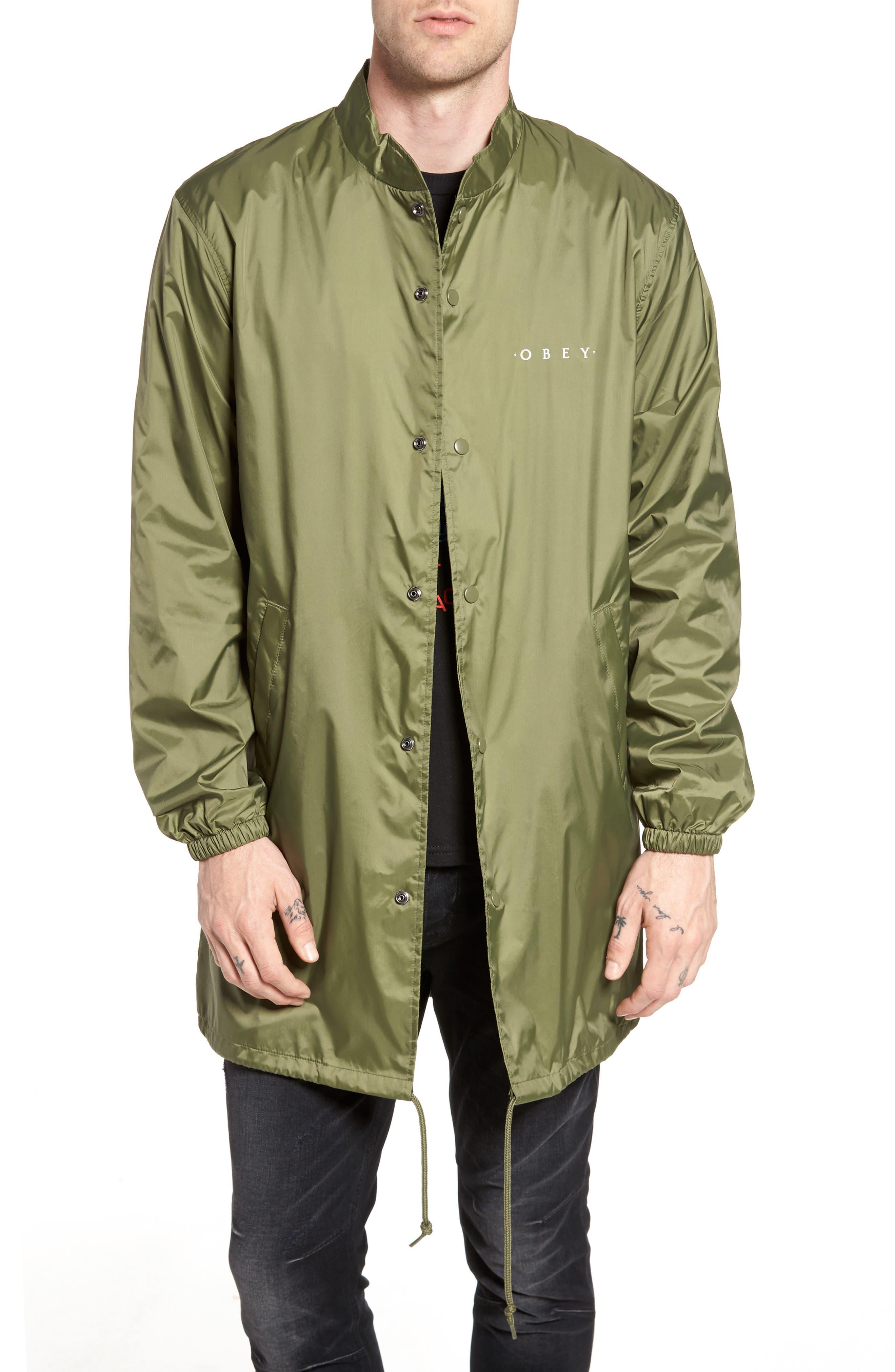 Novel Mock Neck Nylon Jacket,                         Main,                         color, Army