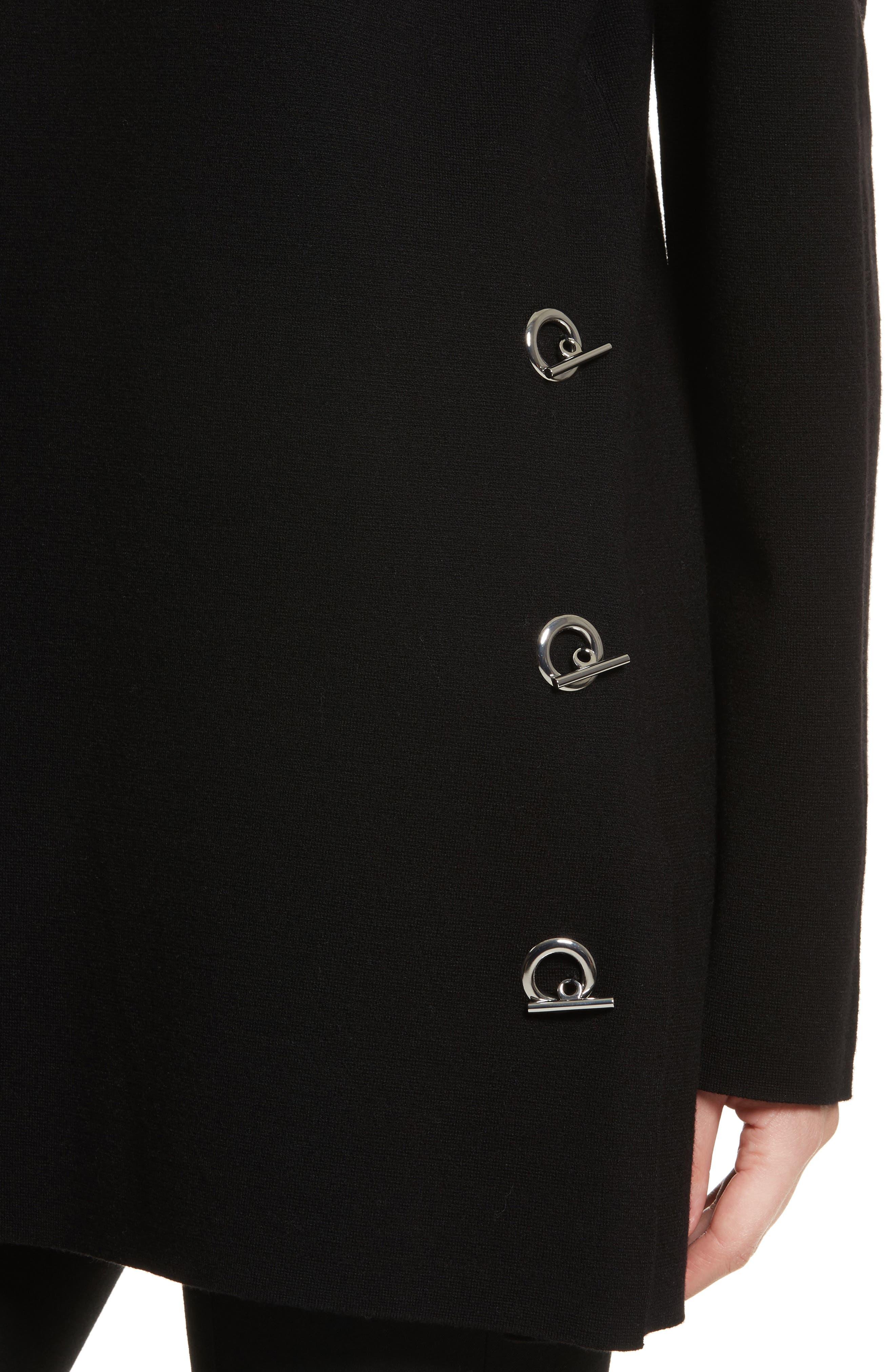 Nola Grommet Tunic Sweater,                             Alternate thumbnail 4, color,                             Black