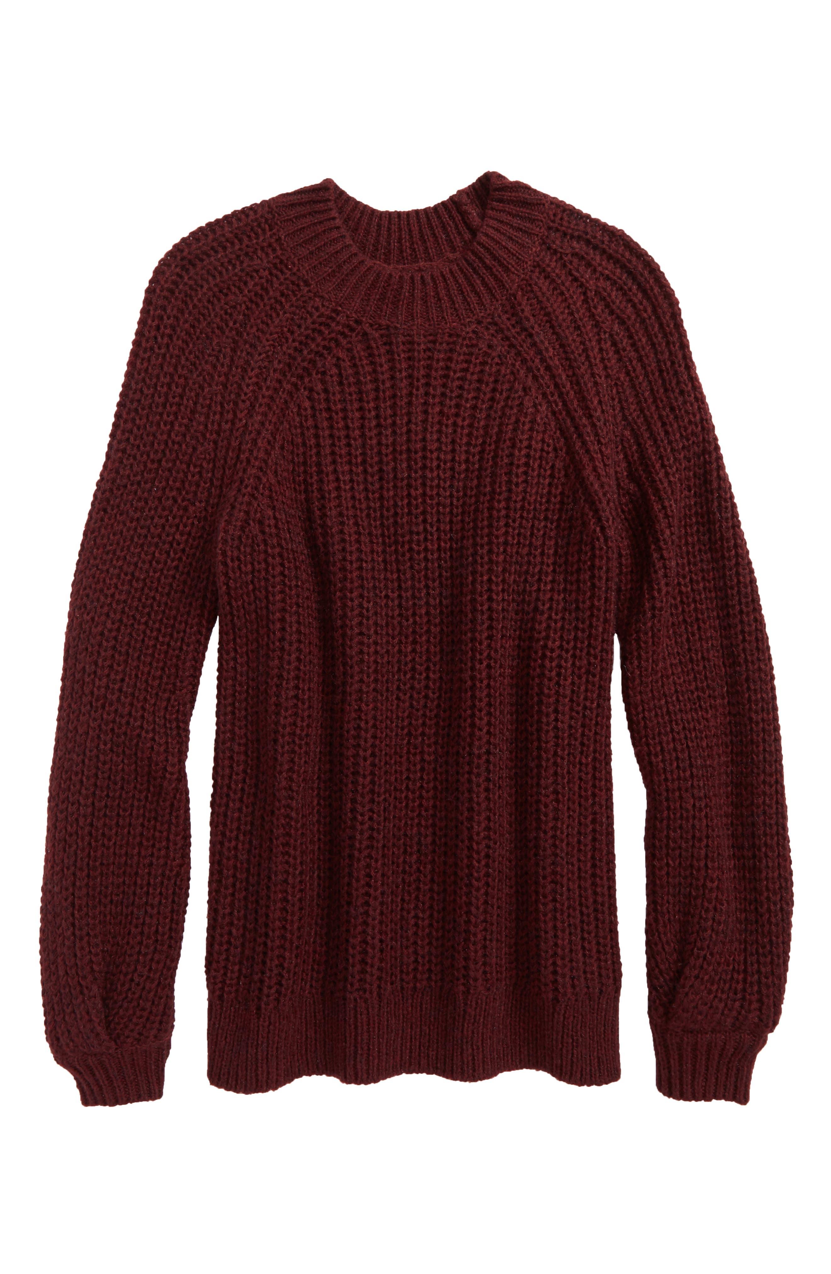 Bubble Sleeve Sweater,                             Main thumbnail 1, color,                             Burgundy Royale