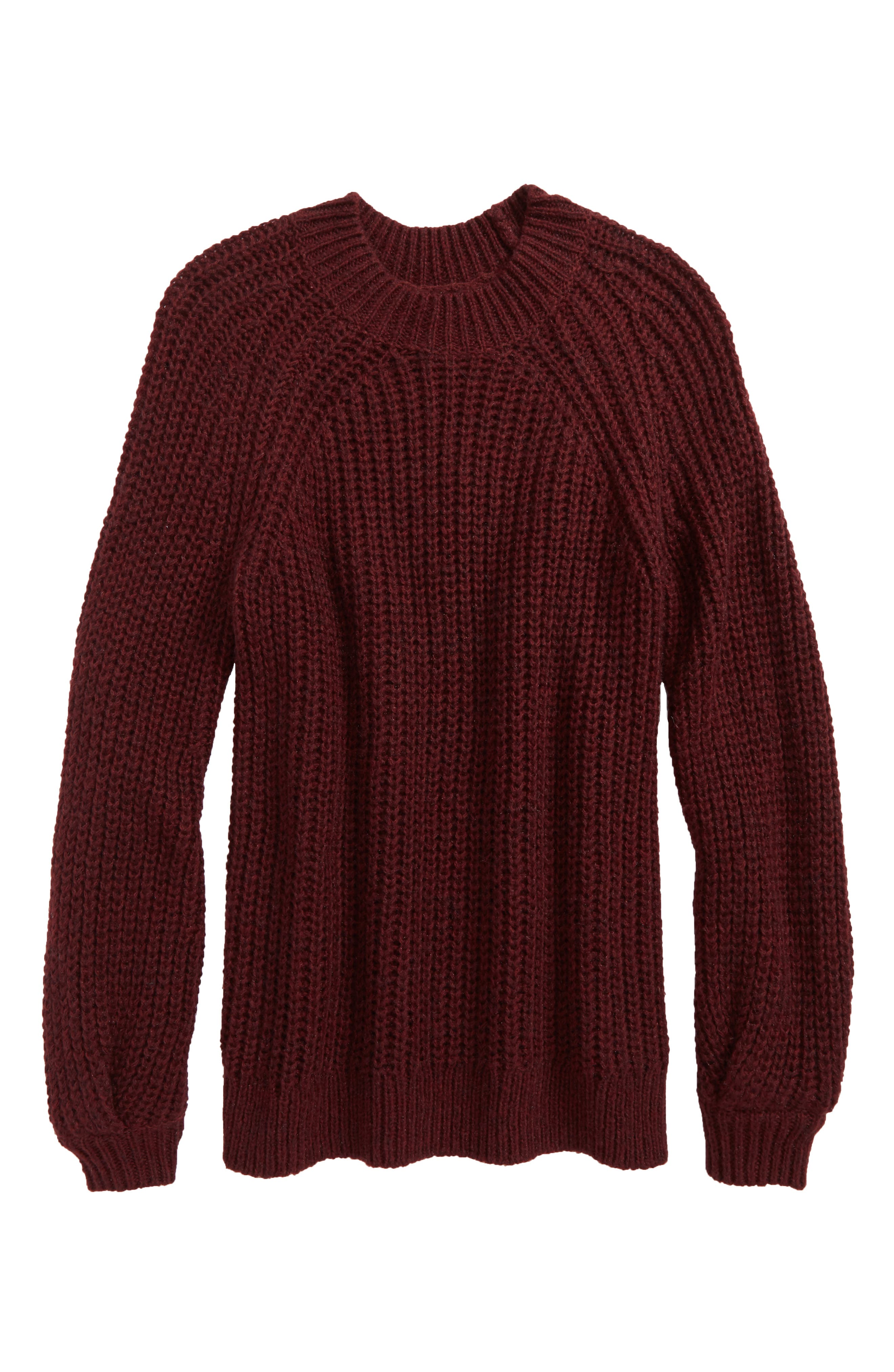 Bubble Sleeve Sweater,                         Main,                         color, Burgundy Royale