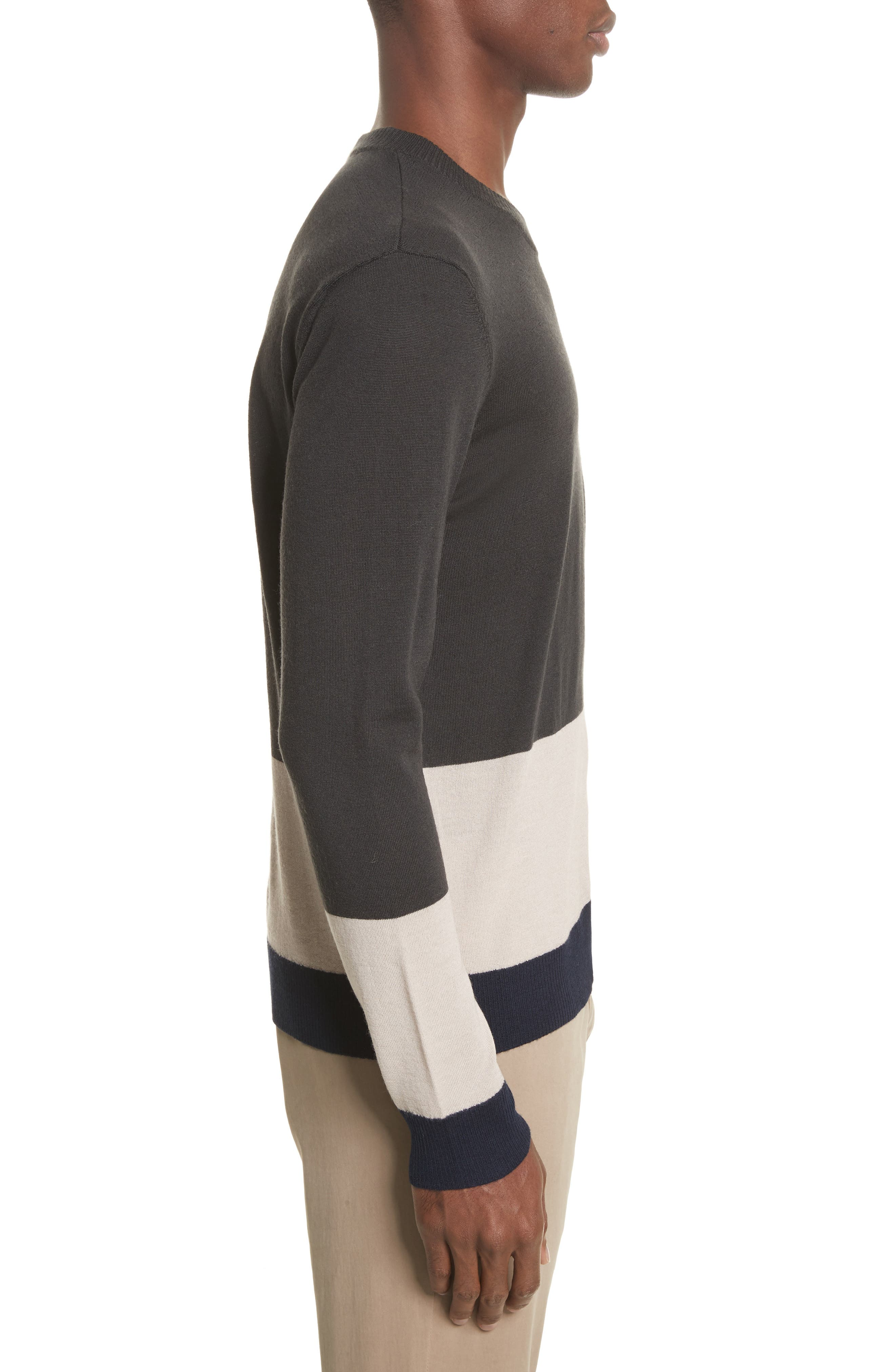 Colorblock Merino Wool Sweater,                             Alternate thumbnail 3, color,                             Beige/ Slate/ Midnight