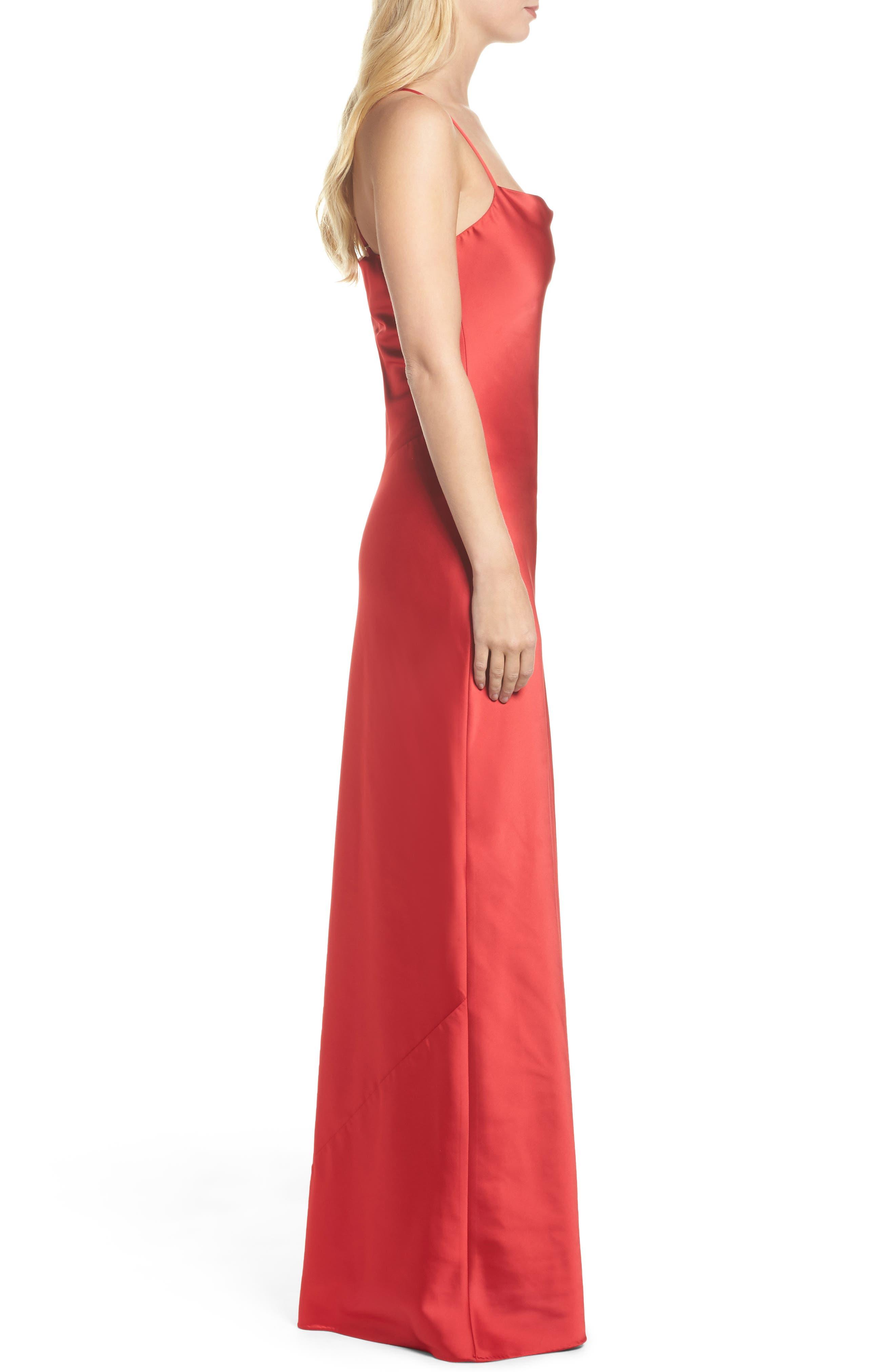 Juliet Satin Gown,                             Alternate thumbnail 3, color,                             Crimson