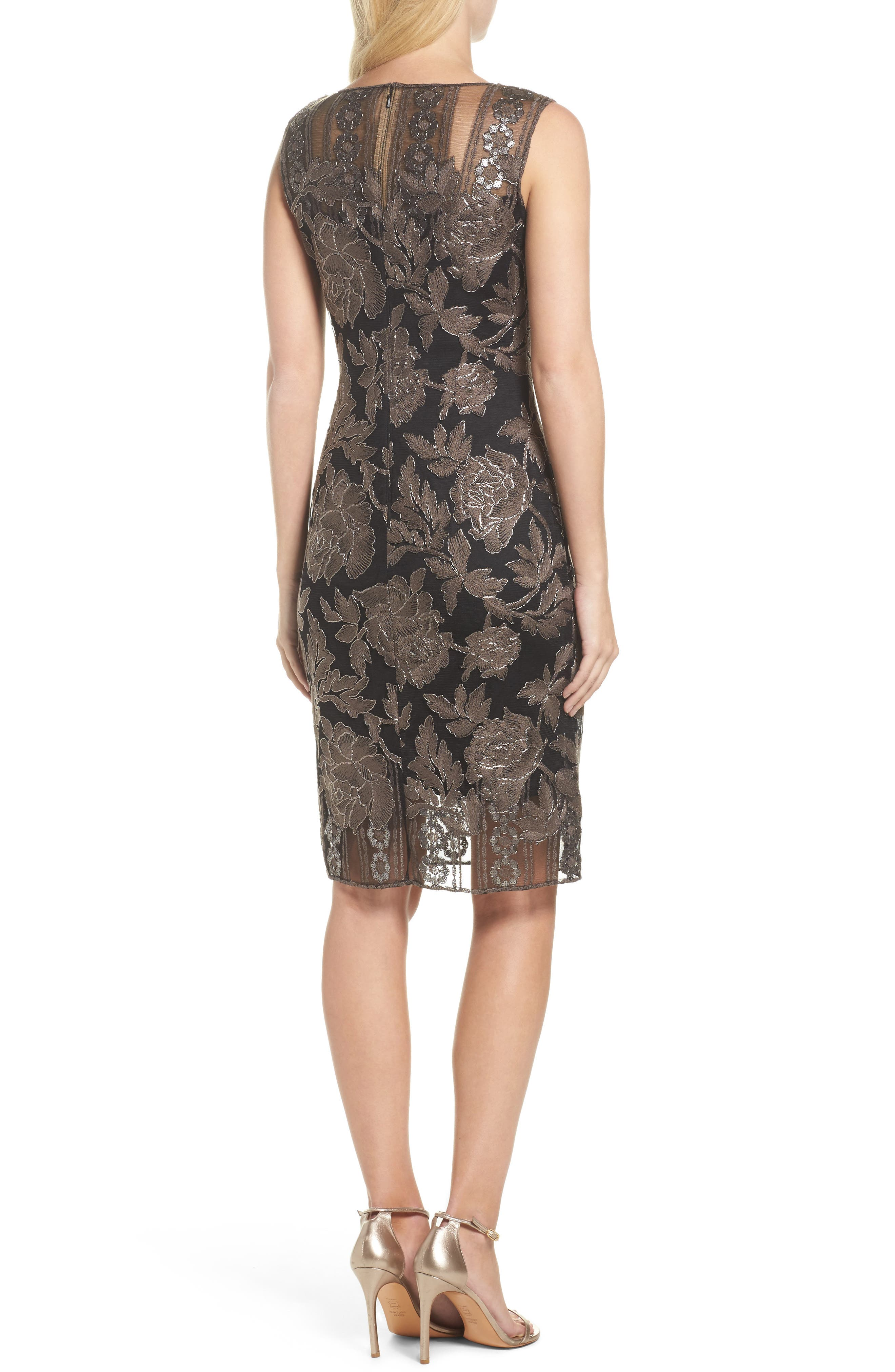 Embroidered Lace Sheath Dress,                             Alternate thumbnail 2, color,                             Dark Pearl/ Black