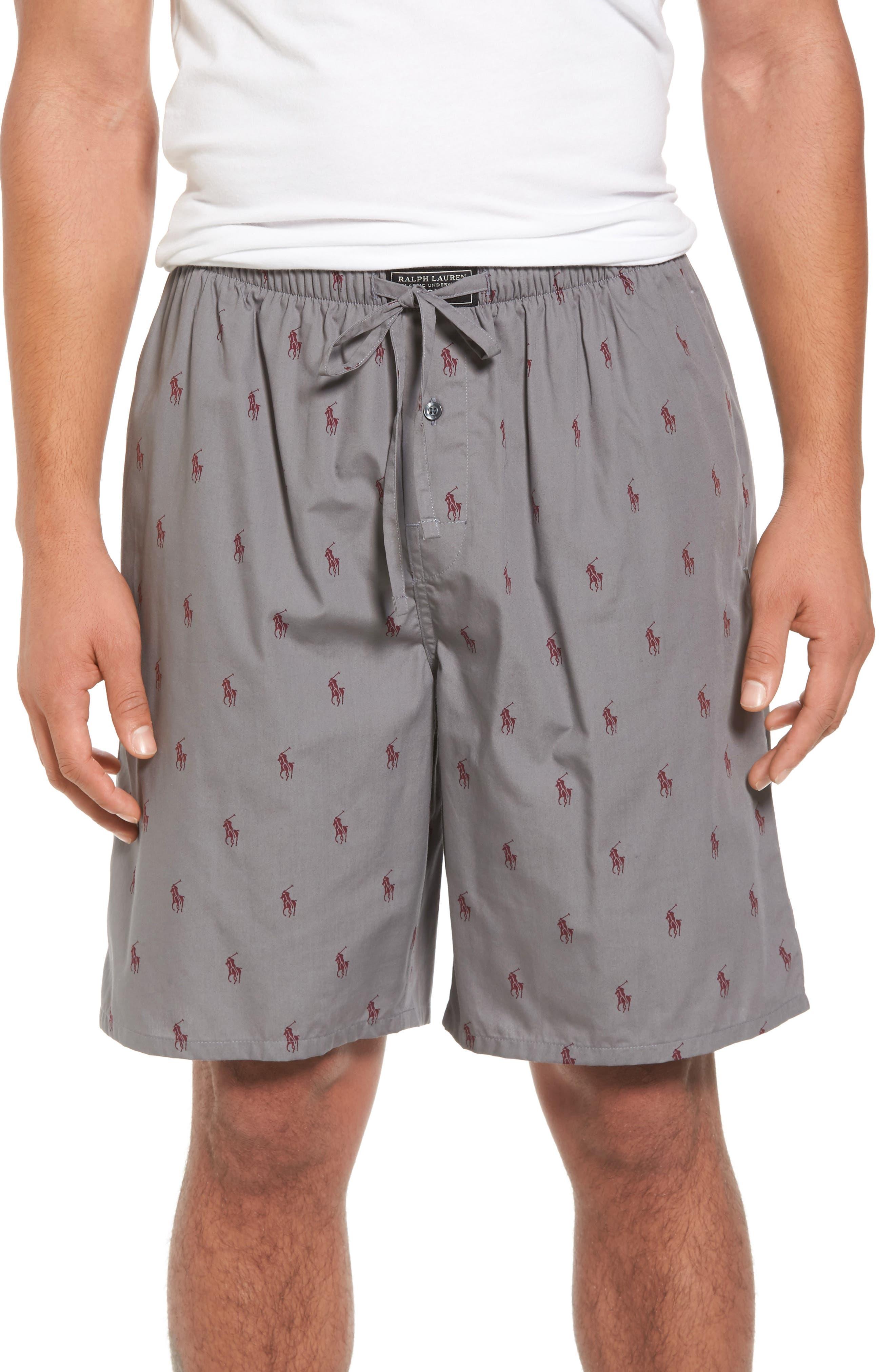 Woven Pajama Shorts,                             Main thumbnail 1, color,                             Marine Grey/ Classic Wine