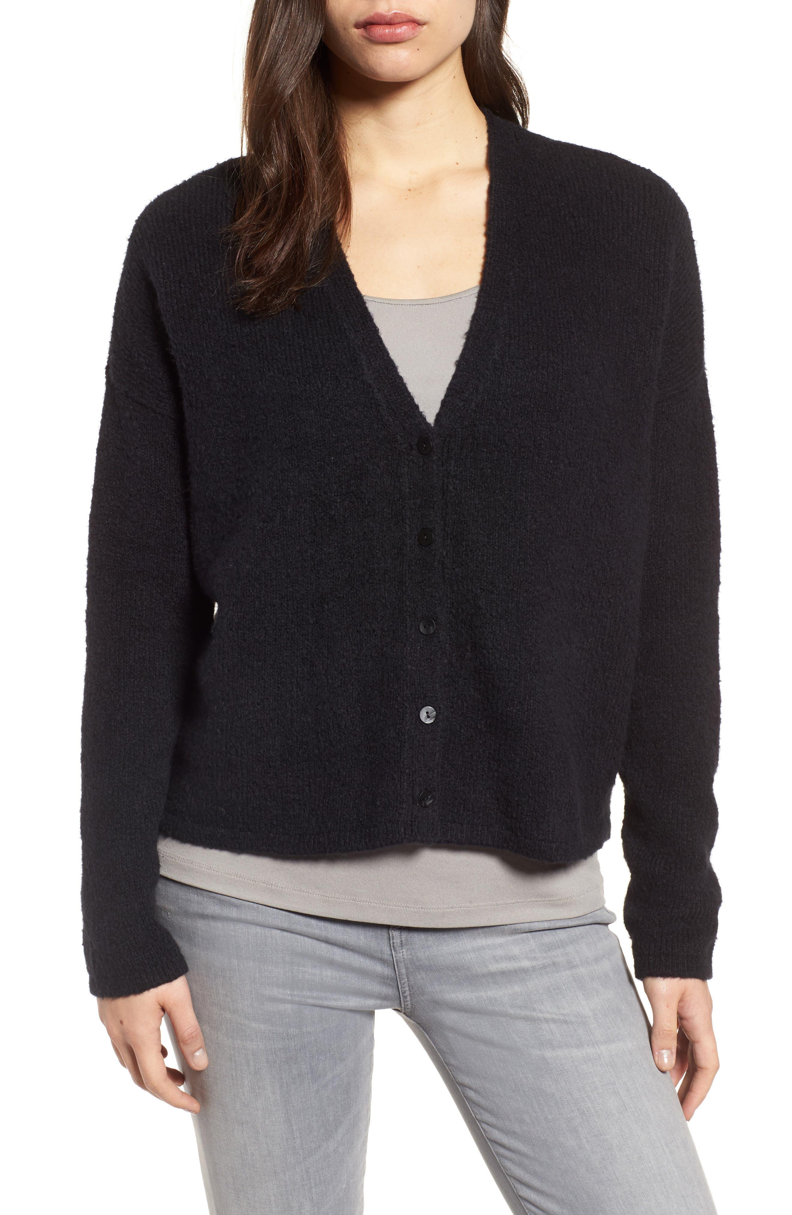Organic Cotton Blend Cardigan,                         Main,                         color, Black