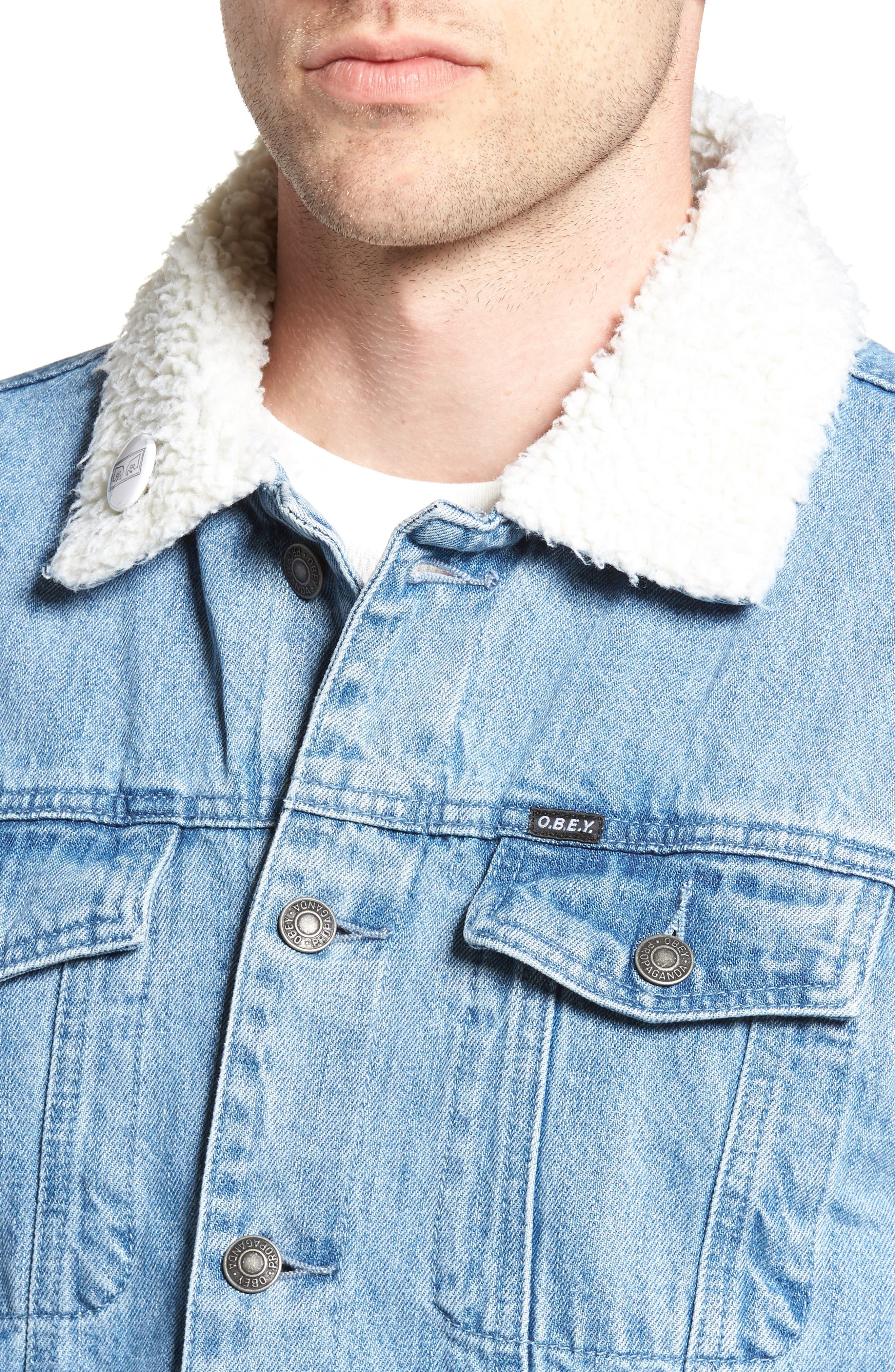 Alternate Image 4  - Obey Off the Chain Fleece Denim Jacket