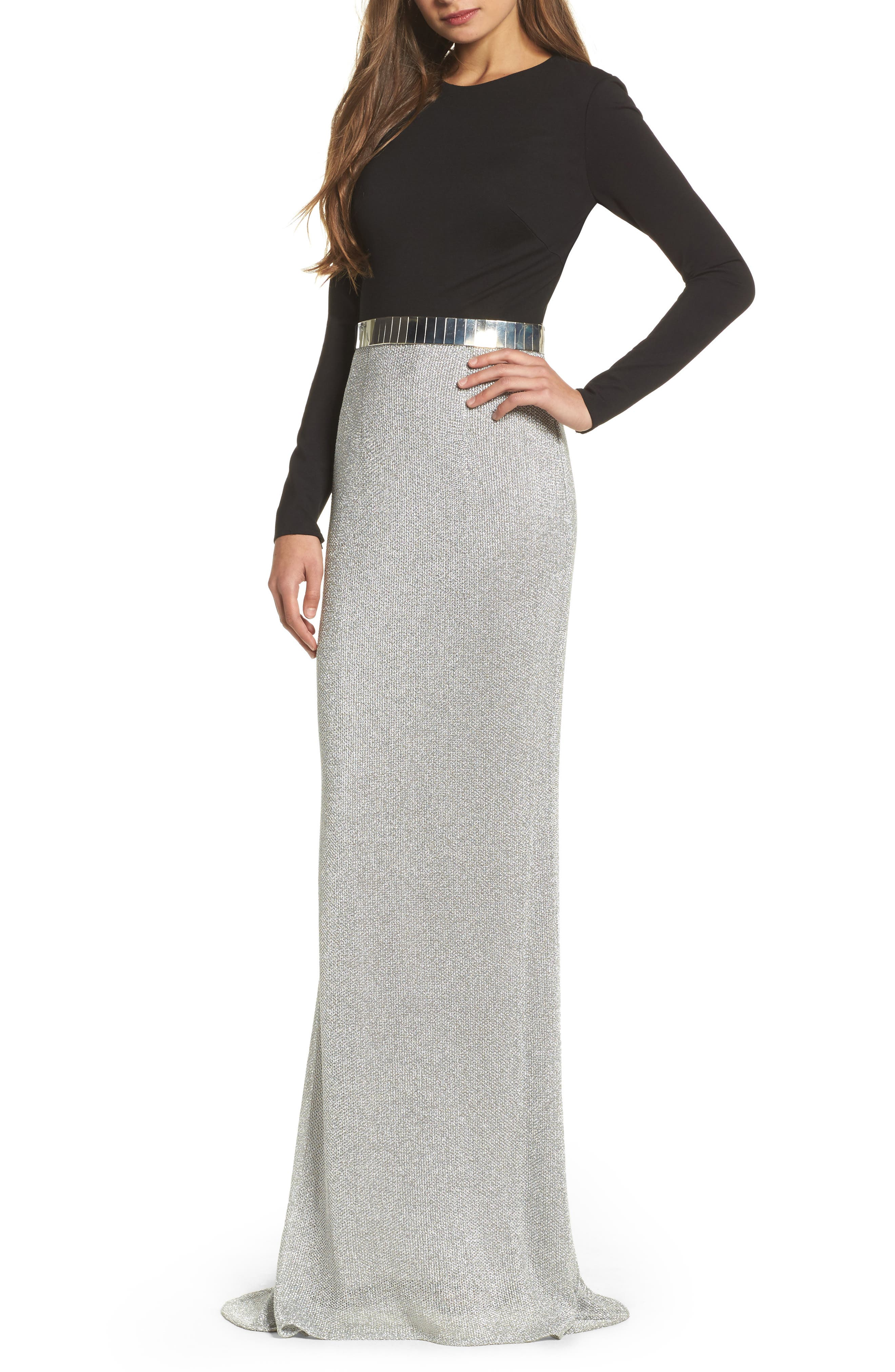 Embellished Metallic Mixed Media Gown,                             Main thumbnail 1, color,                             Silver