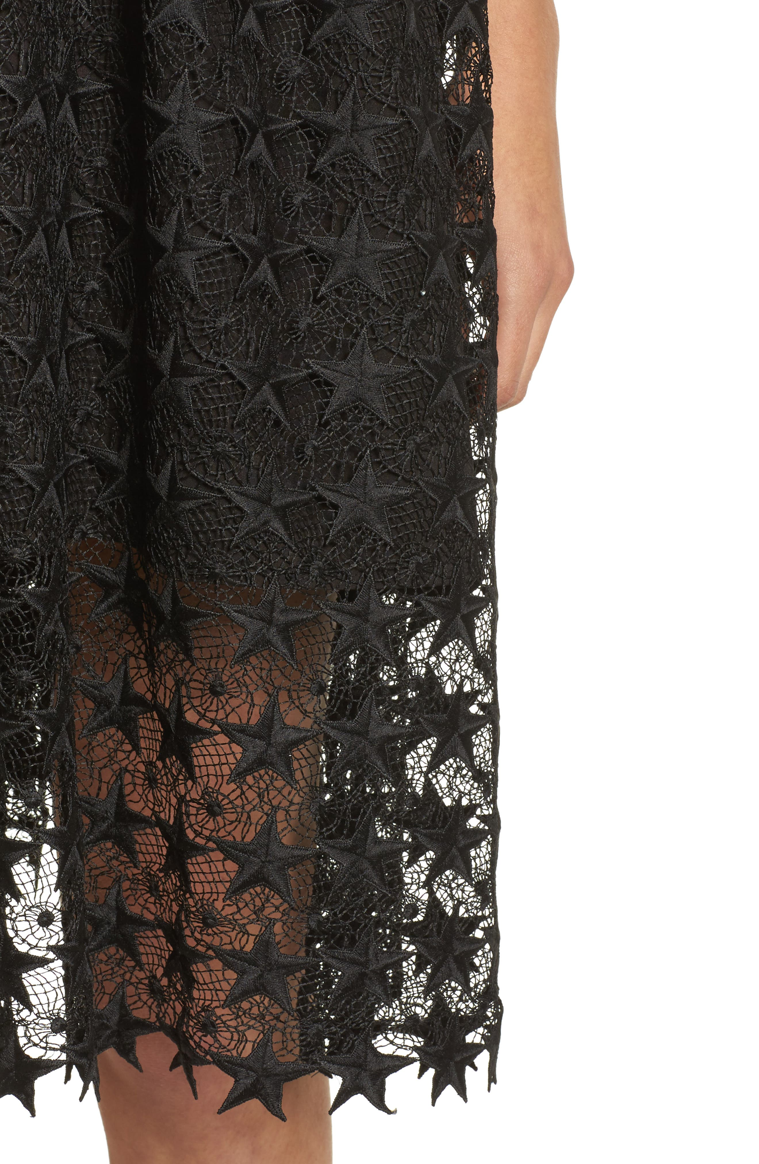 Star Lace Fit & Flare Dress,                             Alternate thumbnail 4, color,                             Black Star