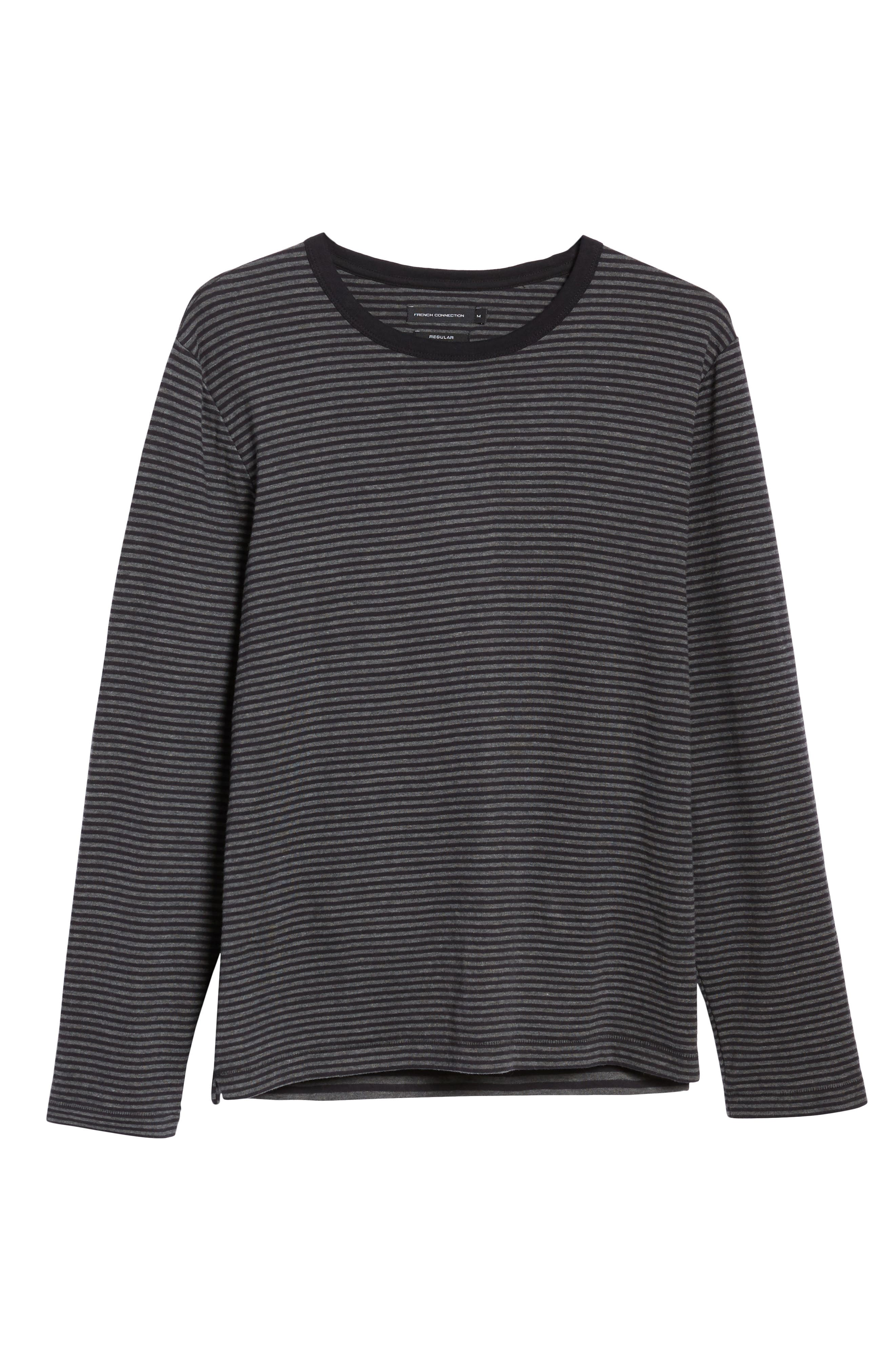 Alternative Stripe Long Sleeve T-Shirt,                             Alternate thumbnail 6, color,                             Charcoal Melange/ Black