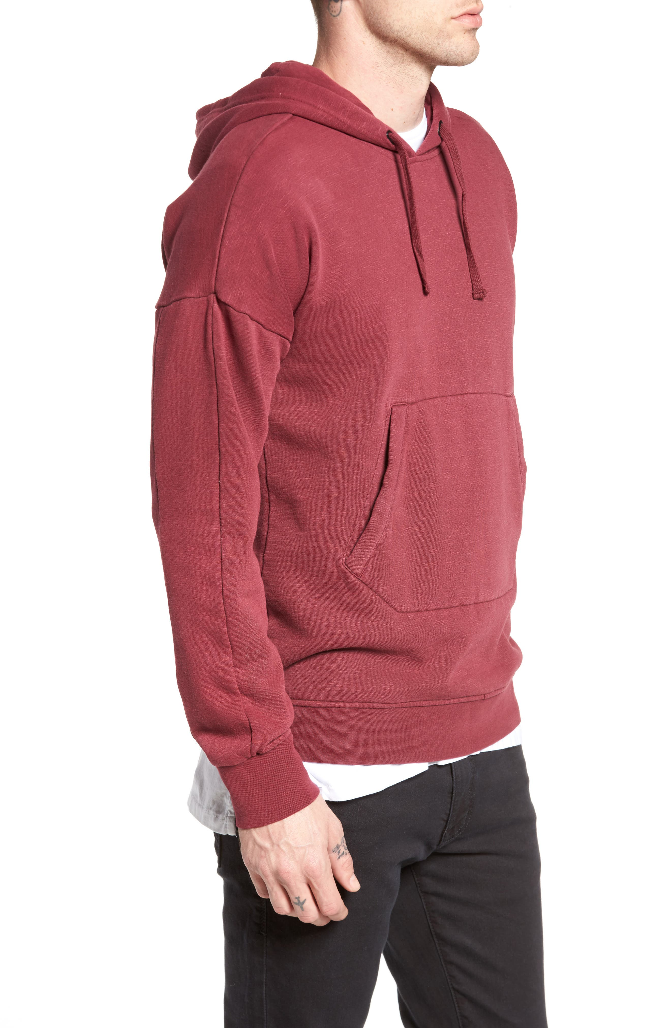 Turf Hooded Sweatshirt,                             Alternate thumbnail 3, color,                             Rosewood
