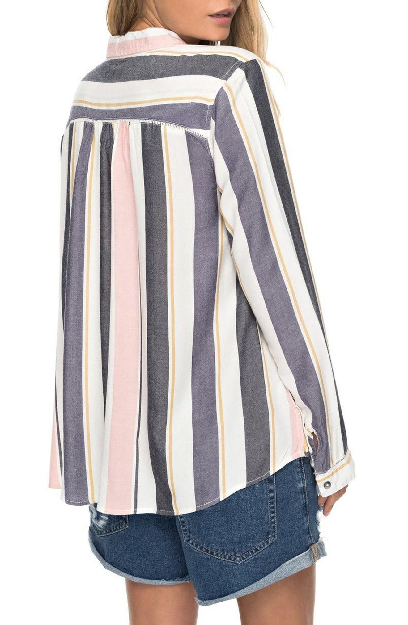 Romantic Path Button-Down Shirt,                             Alternate thumbnail 2, color,                             Nightshadow On The Road Stripe