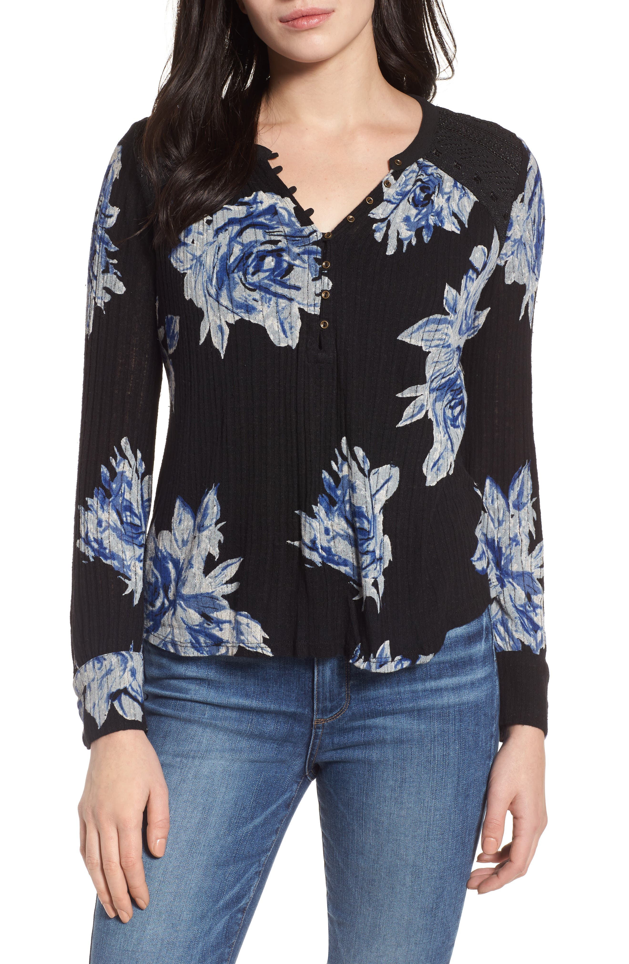 Lucky Brand Blossom Print Henley Top