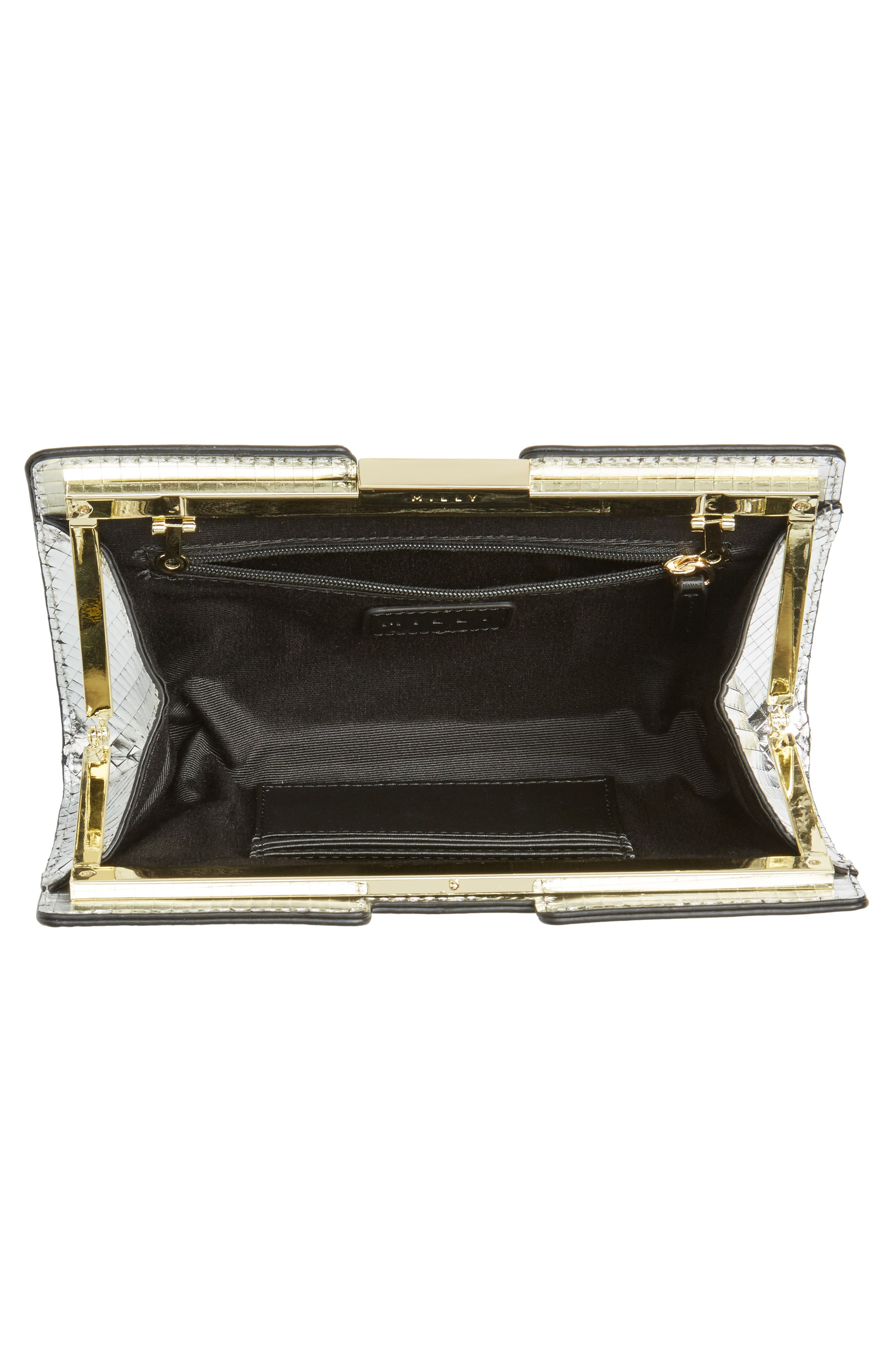 Small Mirror Mosaic Leather Frame Clutch,                             Alternate thumbnail 4, color,                             Silver